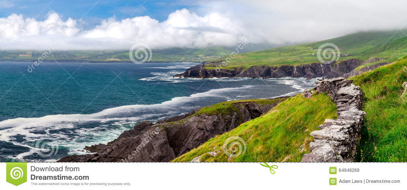 Download Atlantic Coastal Cliffs Of Ireland On The Ring Of Kerry, Near Wild Atlantic Way. Stock Image - Image of cliff, nature: 64946269