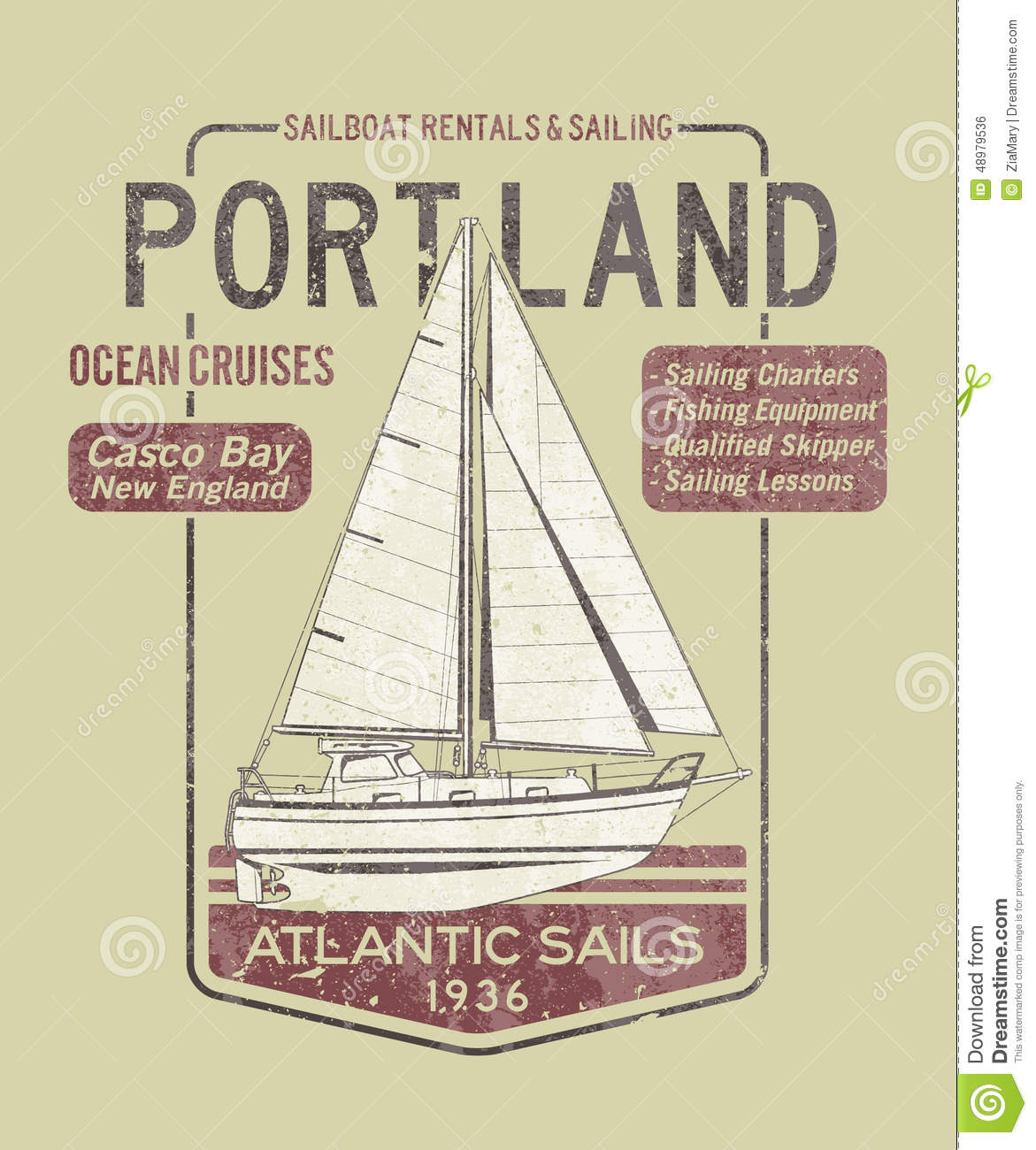 Atlantic Ocean Sailing. Stock Vector. Illustration Of Boat