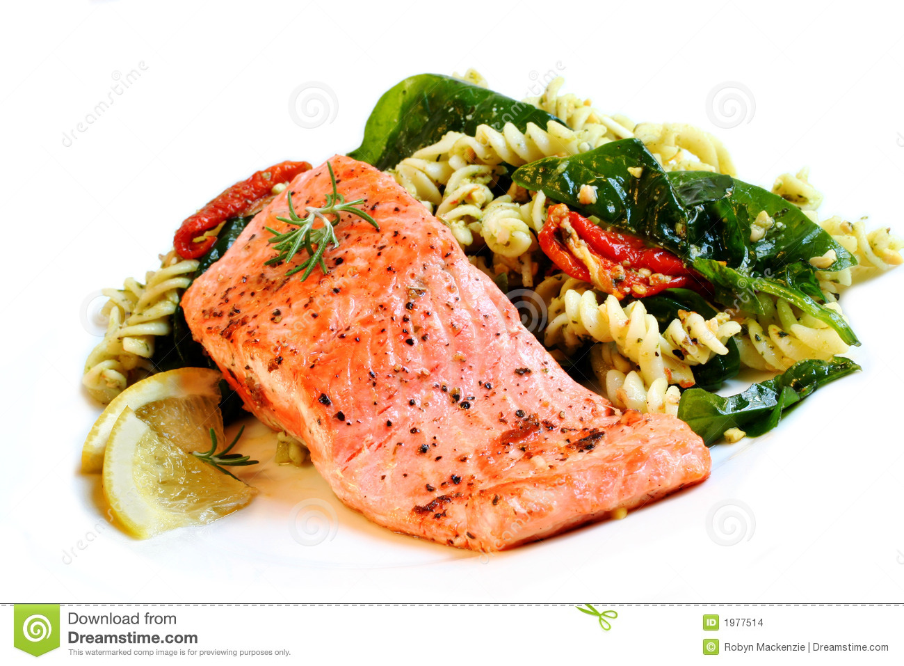 ... fillet of Atlantic salmon, perfectly cooked, with a fresh pasta salad