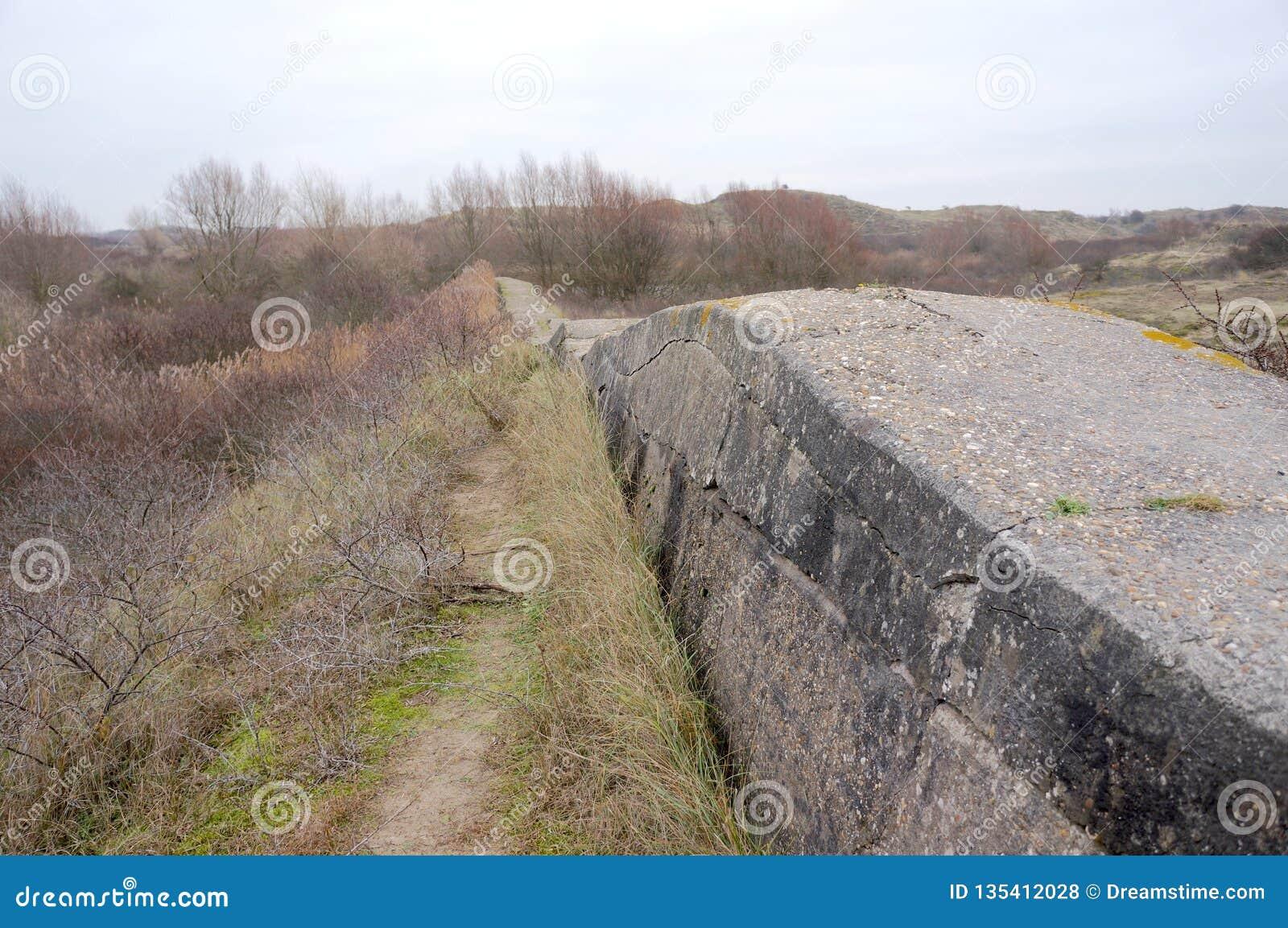 Atlantikwall Atlantyk ściana blisko Katwijk w holandiach
