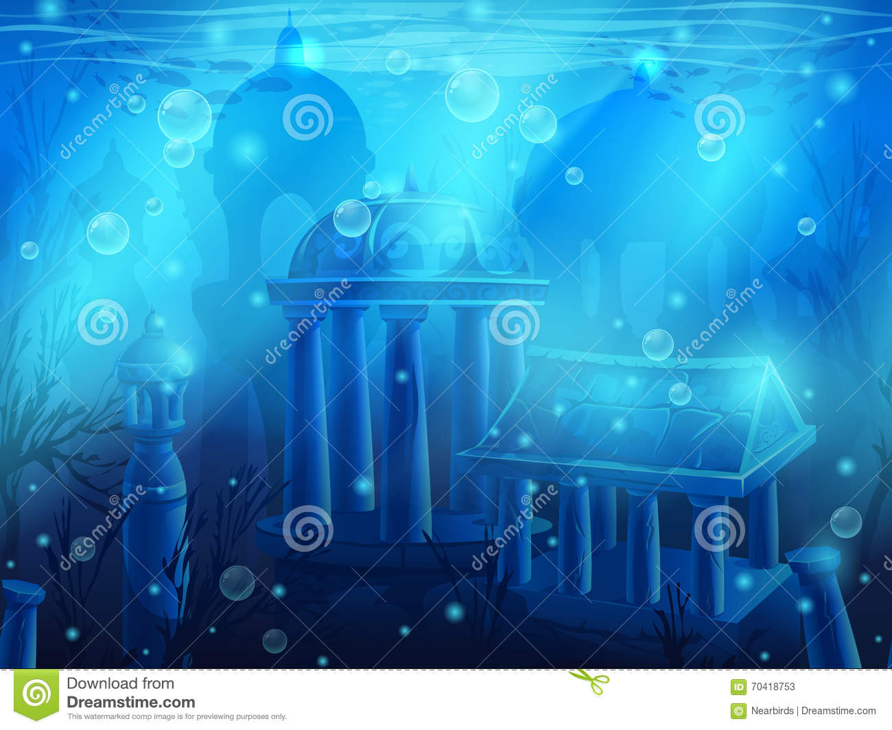 Atlantis. Seamless submerged underwater city, the ancient ruins