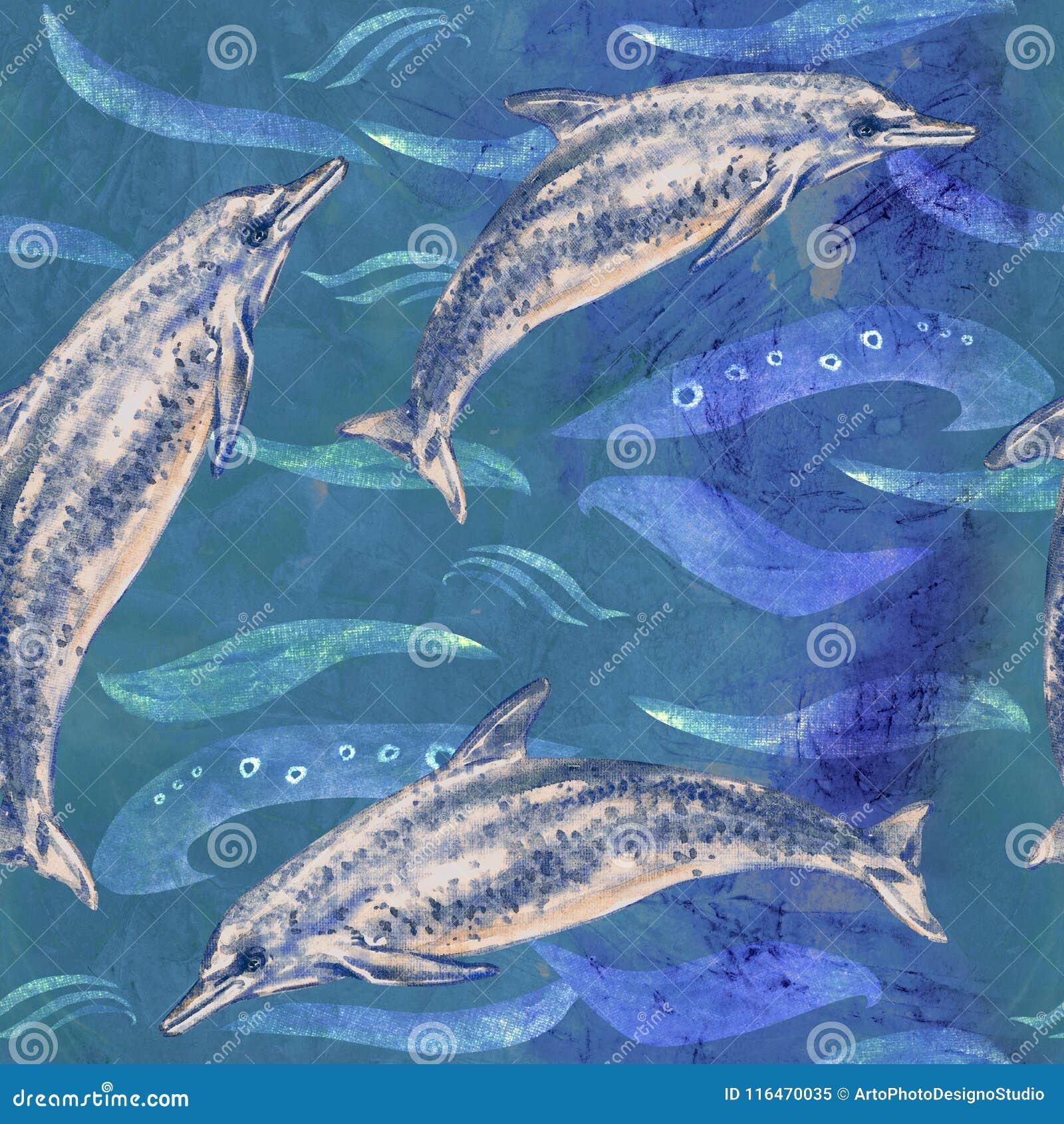 Atlantycki Łaciasty delfin, ręka malował akwareli ilustrację, bezszwowy wzór na błękitnym oceanie z fala