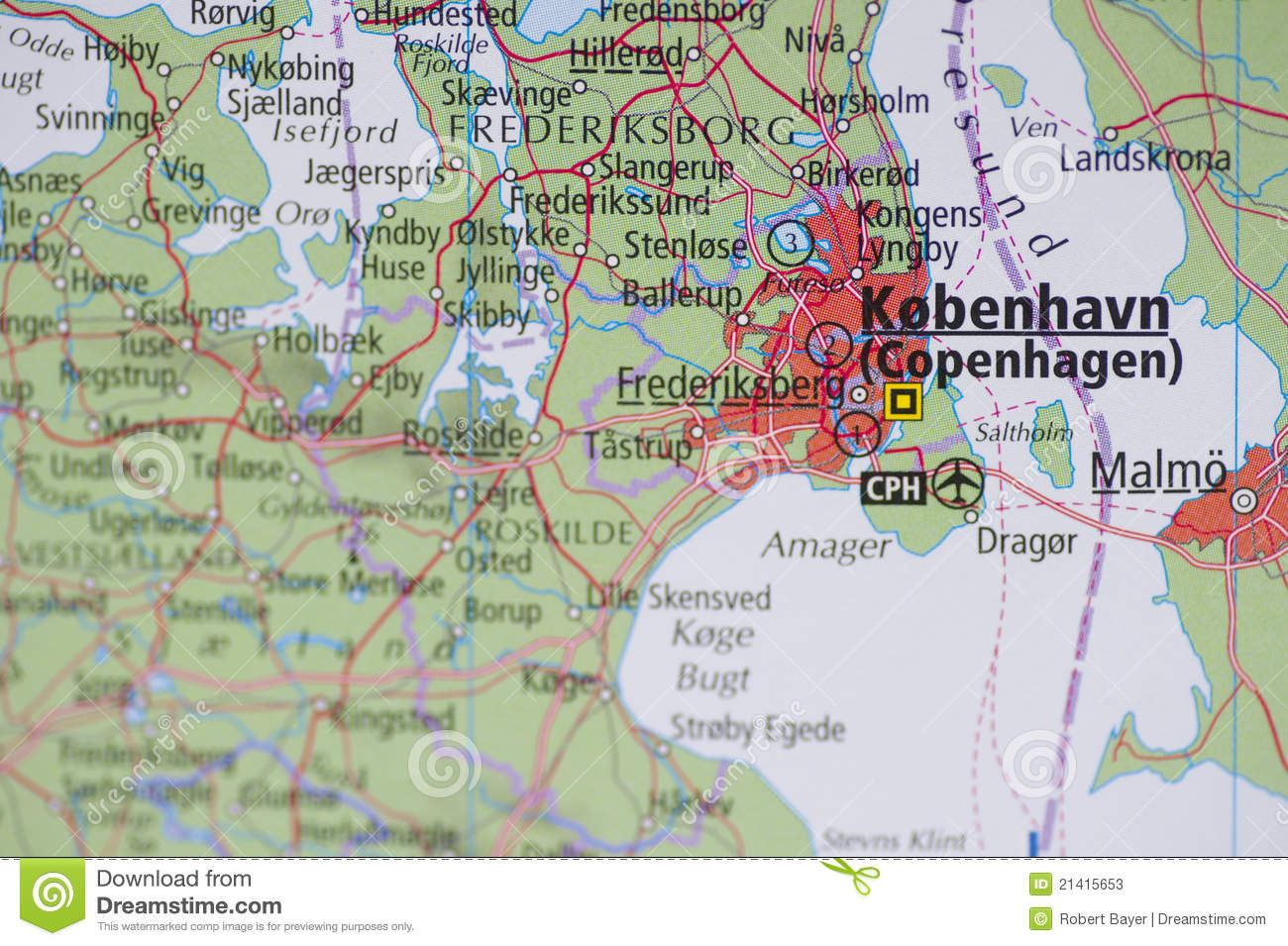 Denmark Topographic Map.Atlas Map Copenhagen Stock Image Image Of Route Metropolis 21415653