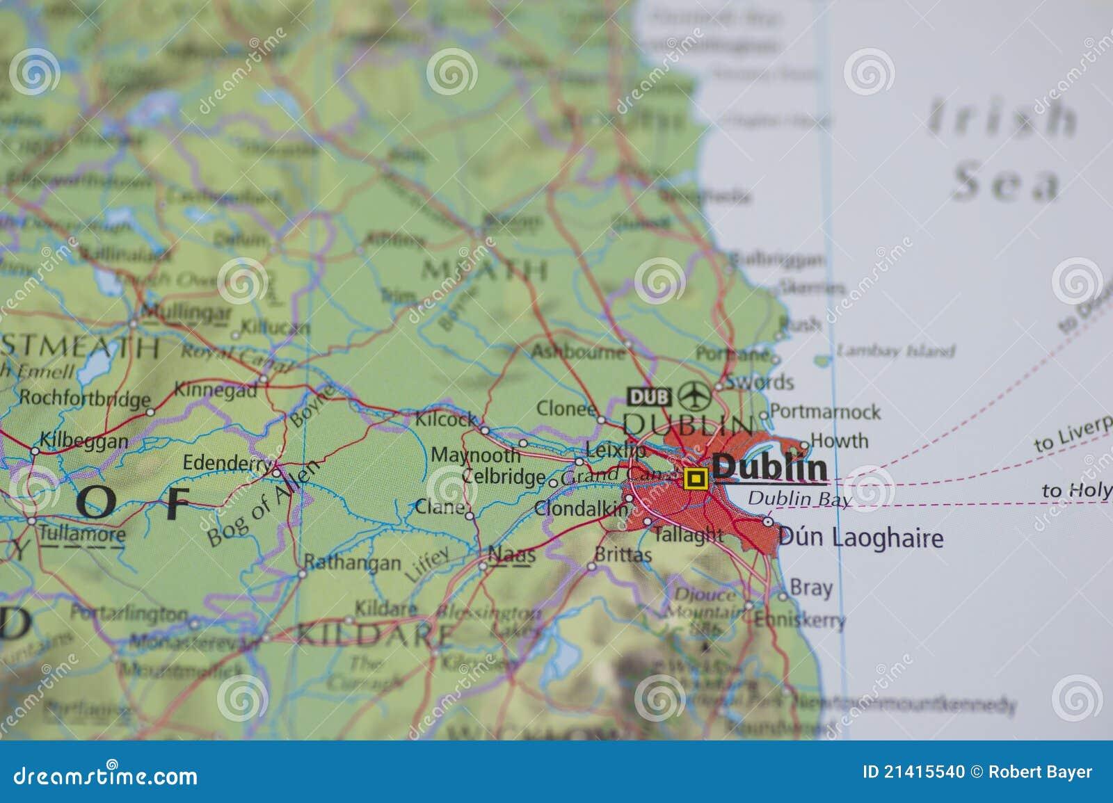 Map Of Dublin Ireland And Surrounding Area.Atlas Map Dublin Stock Photo Image Of Destination Direction 21415540