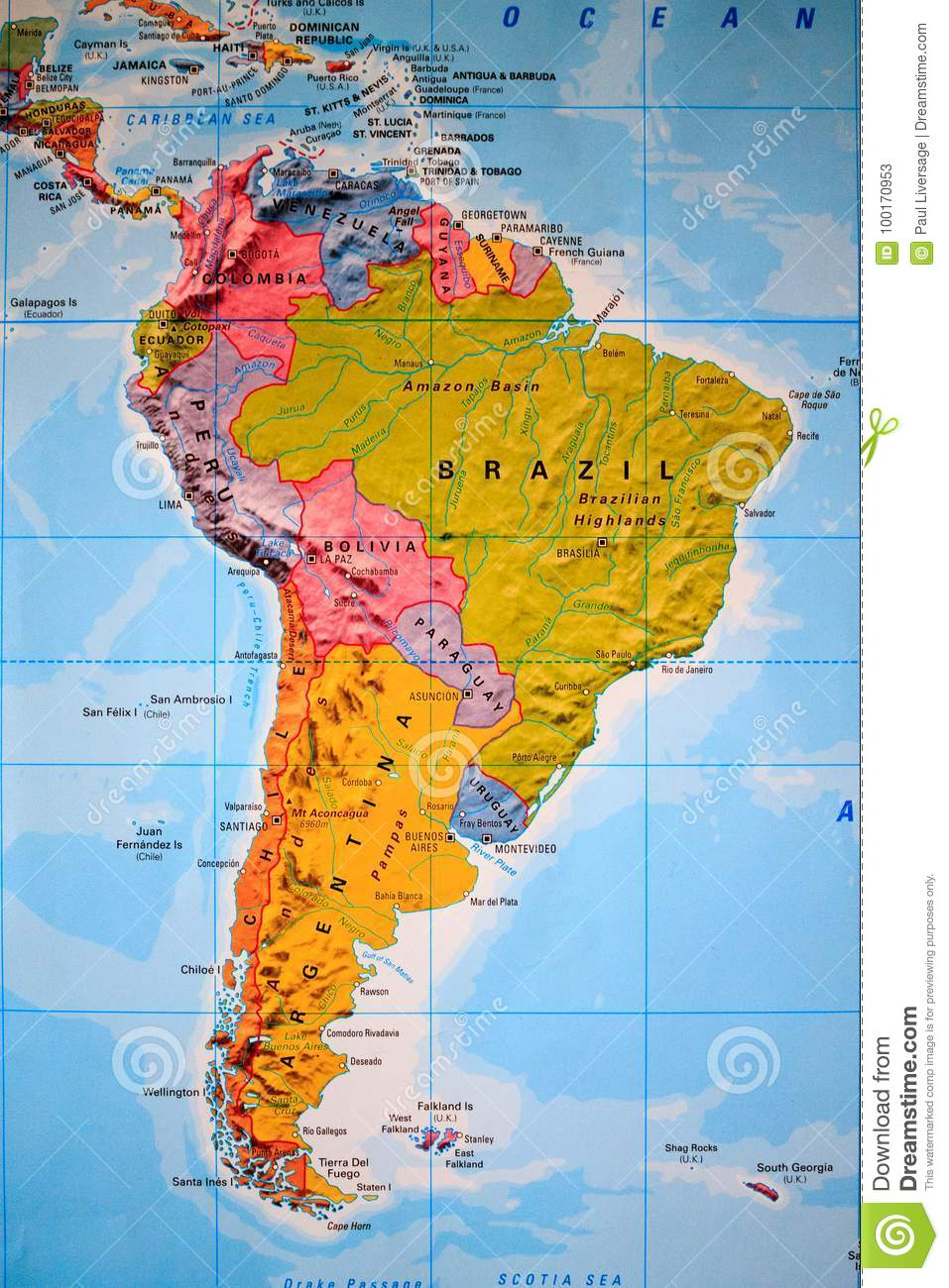 Map Of South America Jamaica.Atlas View Of South America Stock Image Image Of Countrys