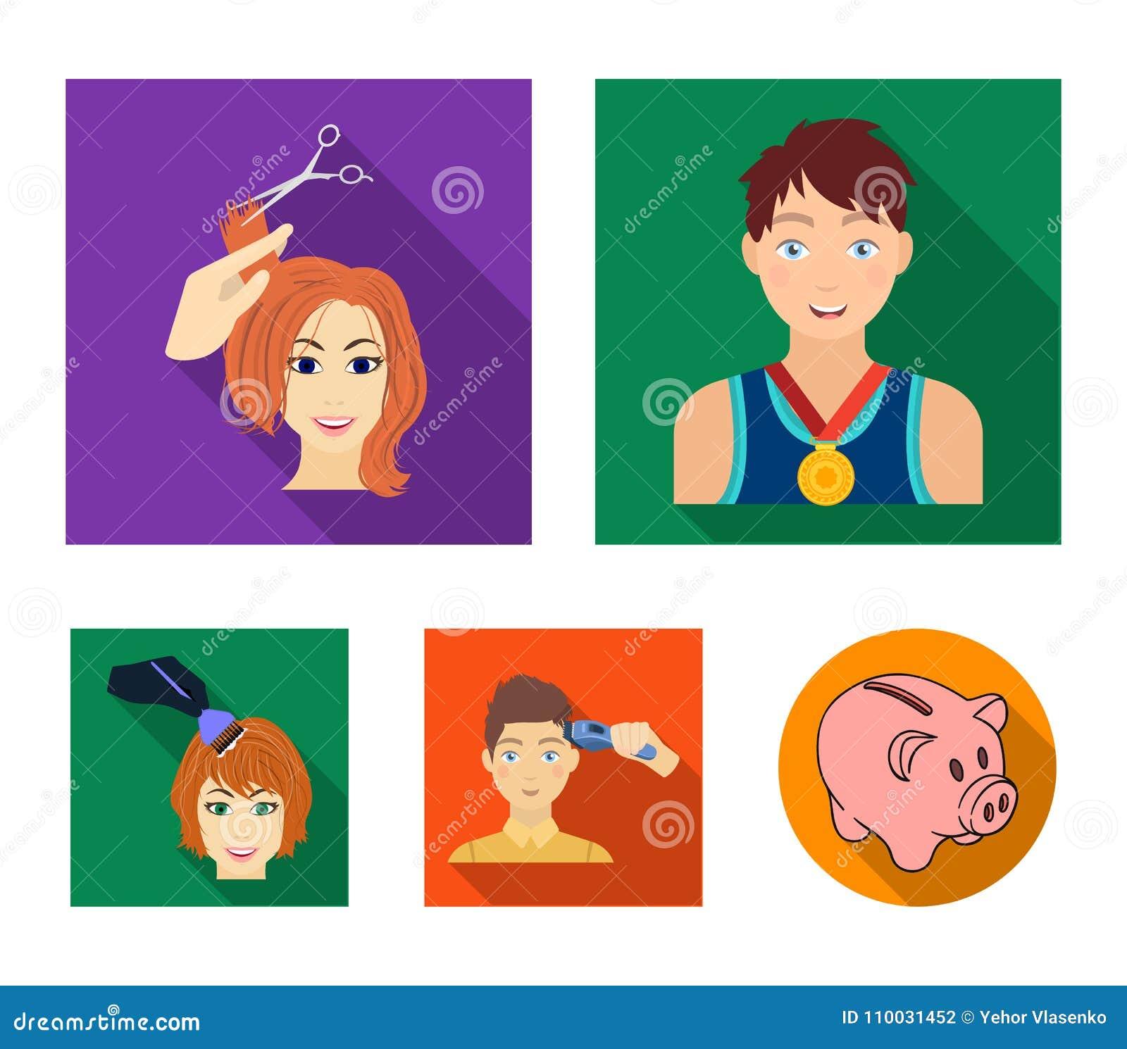 Atleet met een medaille, een kapsel met een elektrische schrijfmachine en ander Webpictogram in vlakke stijl Vrouwen` s kapsel, h
