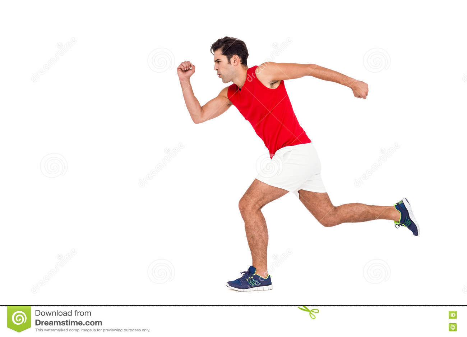 Atleta De Sexo Masculino Que Corre En El Fondo Blanco Foto de archivo