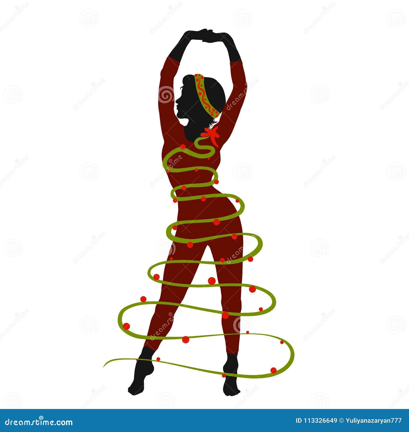 bf58e404d Atleta delgado de la mujer en un traje del árbol de navidad, creativo