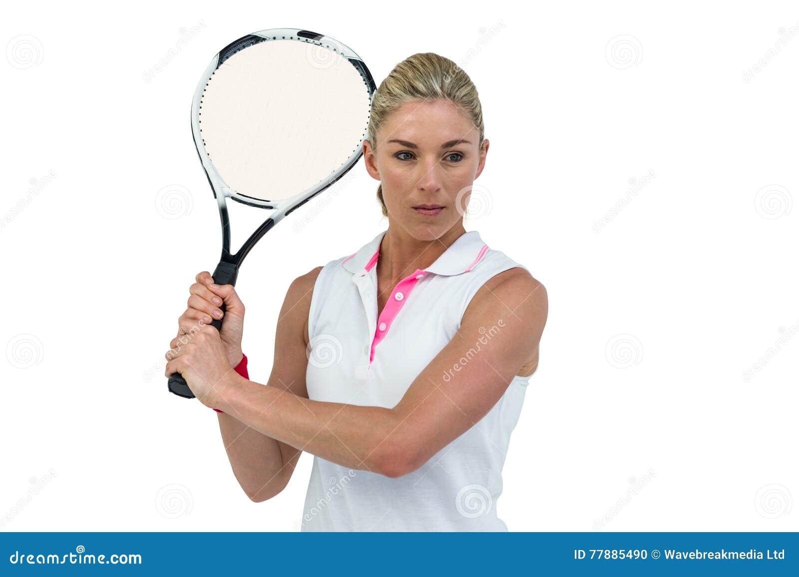 Atleta Que Juega A Tenis Con Una Estafa Foto de archivo