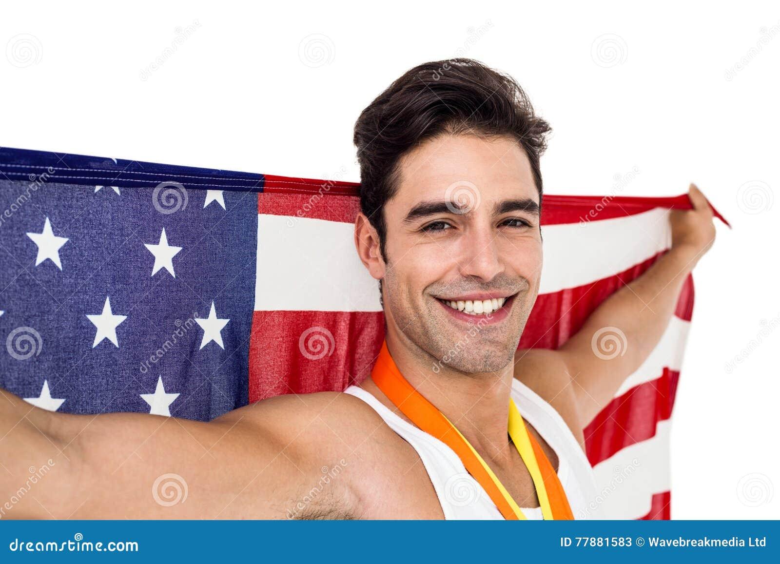 Atleta Que Presenta Con Las Medallas De Oro Después De La Victoria Foto de archivo