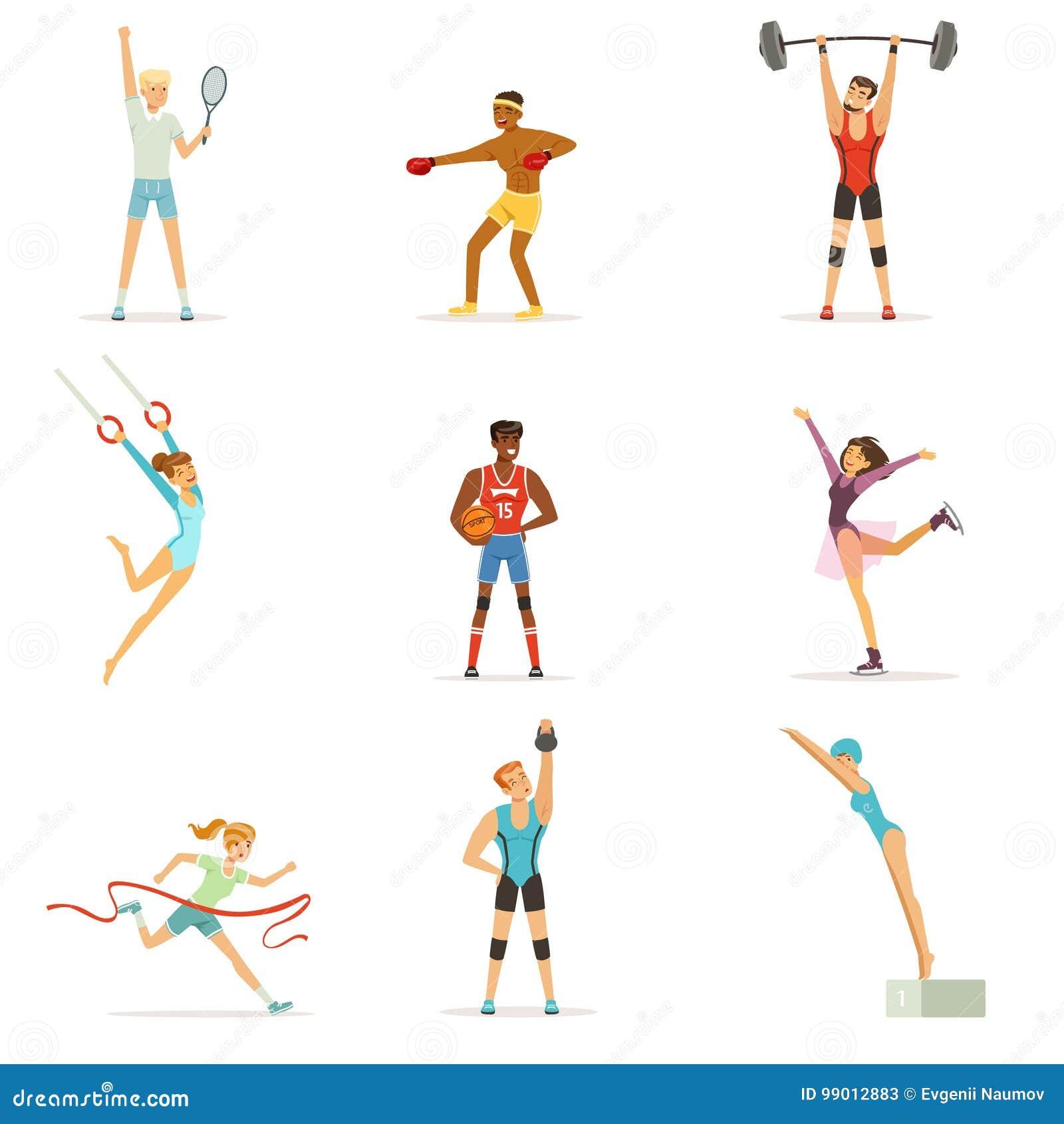 575f08ad282 Atletische mensen die diverse soorten sporten, mensen in gymnastiek doen,  sportuitrusting kleurrijke vectorillustraties