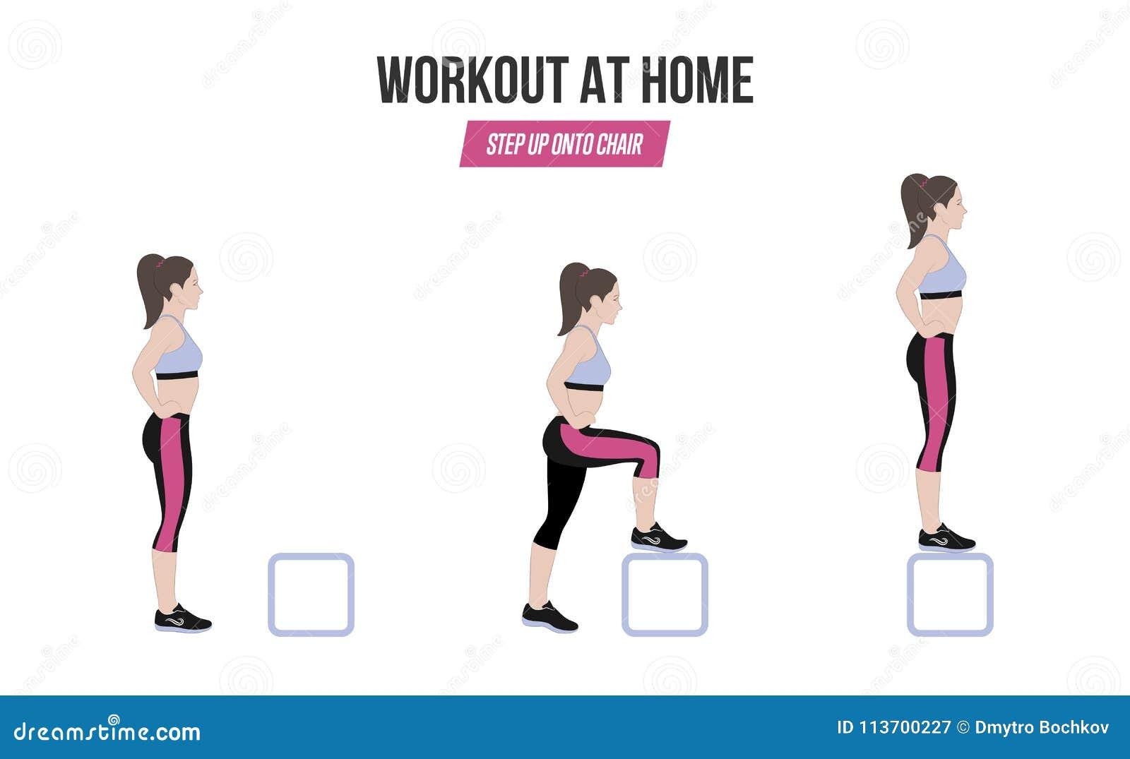 Atletische Oefeningen Oefening Thuis Voer Op Chiar Illustratie Van