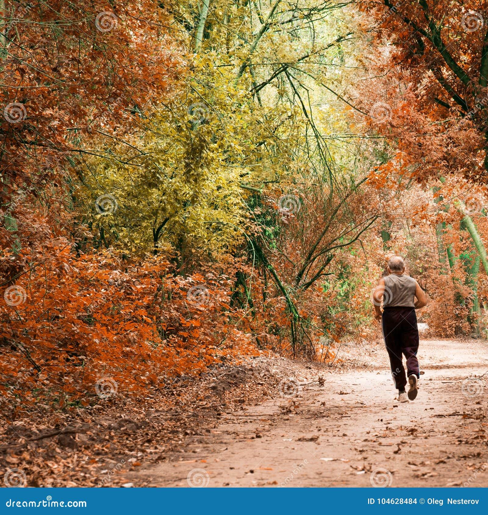 Download Atletische Oude Mens Die Een De Herfstbos Doornemen Redactionele Stock Afbeelding - Afbeelding bestaande uit seizoen, gezond: 104628484