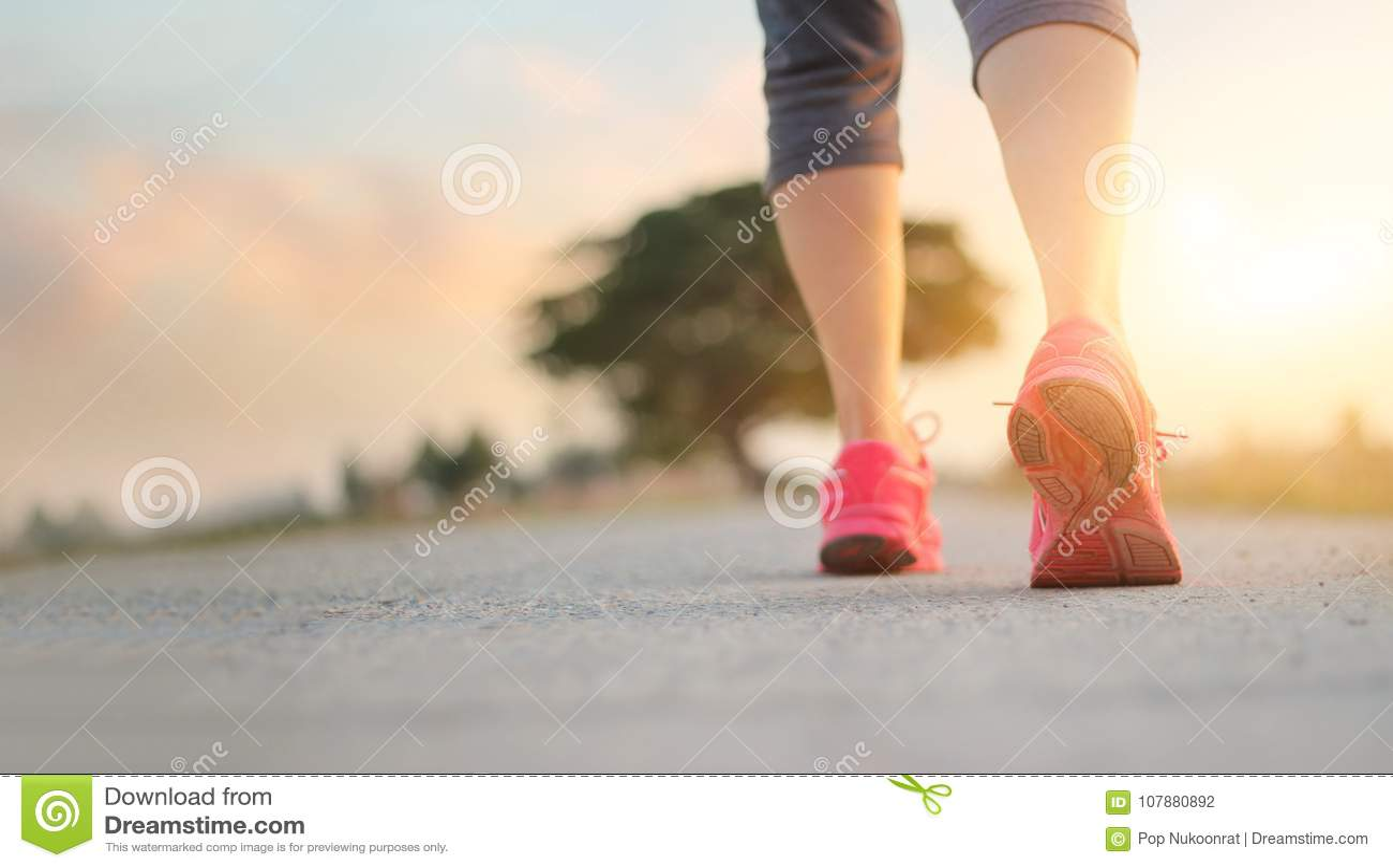 Atlety kobiety odprowadzenia ćwiczenie na wiejskiej drodze w zmierzchu backgroun