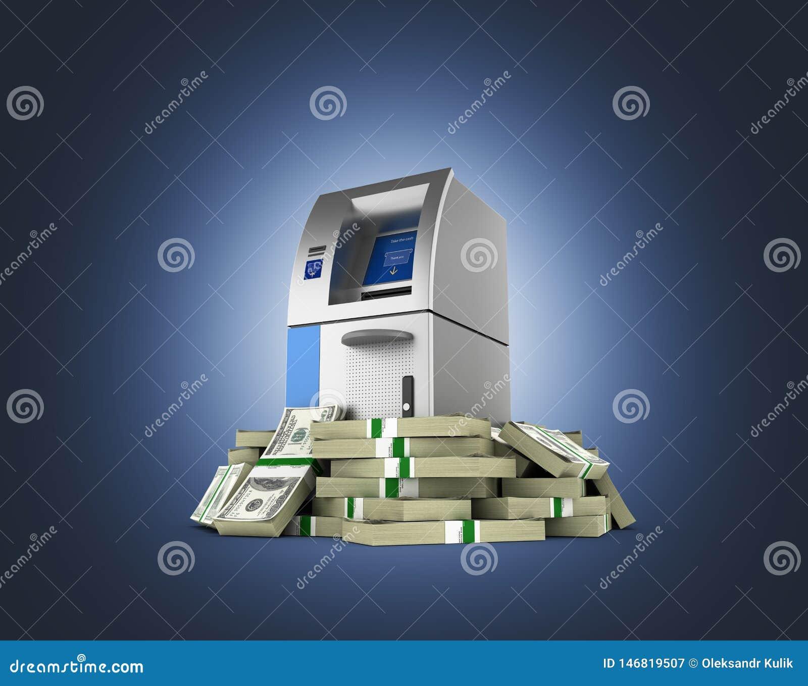 ATM由100美元财务资助在深蓝梯度围拢了开户在金钱的现钞机被隔绝的美国美金