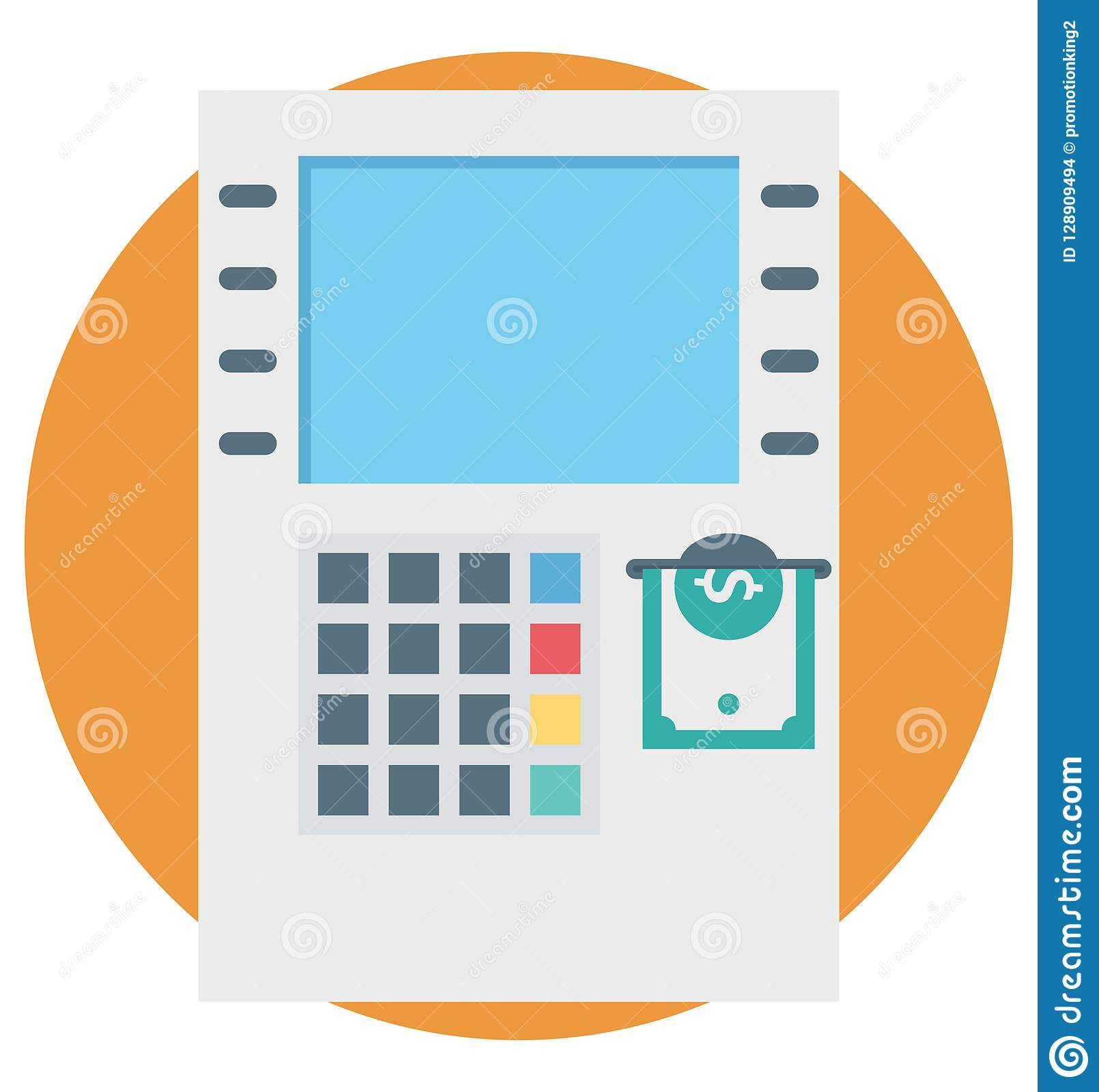 Atm Code Color Isolated Vector Icon That Easily Can Be