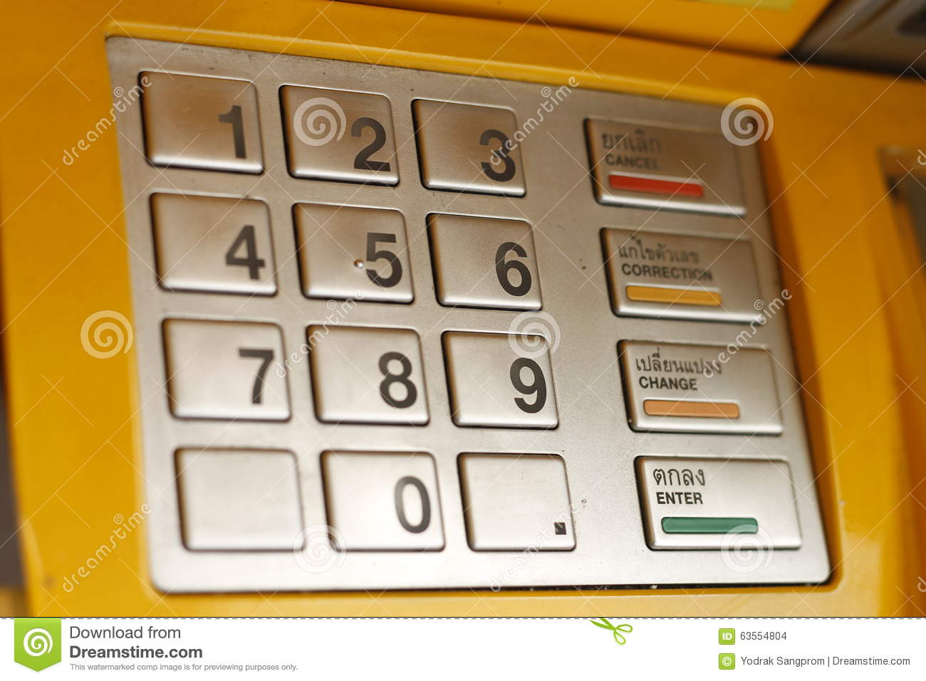 ATM keypad machine detail. Cash point close up