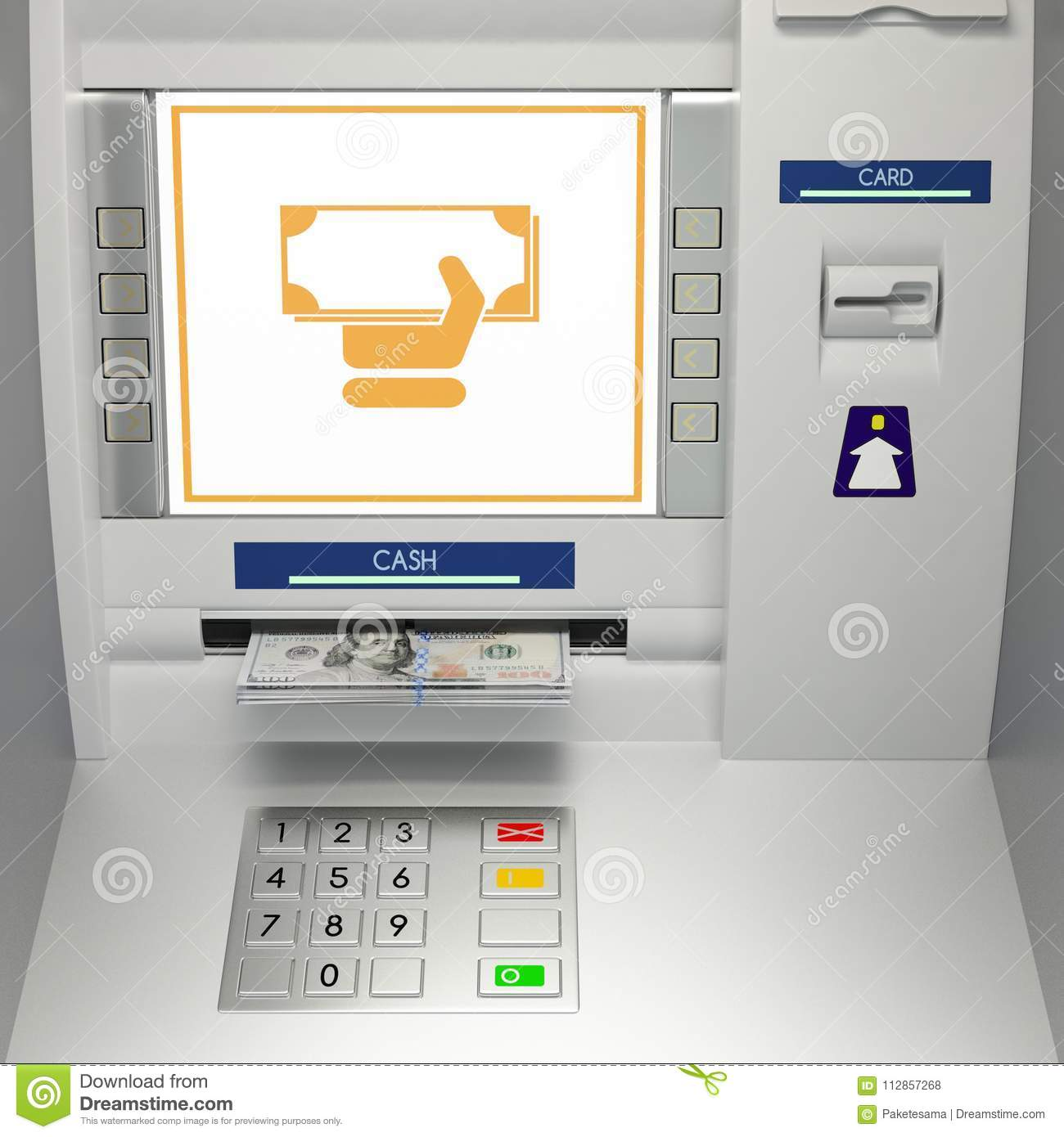 Atm Machine With Banknotes In The Money Slot Stock Illustration Illustration Of Monitor Deposit 112857268