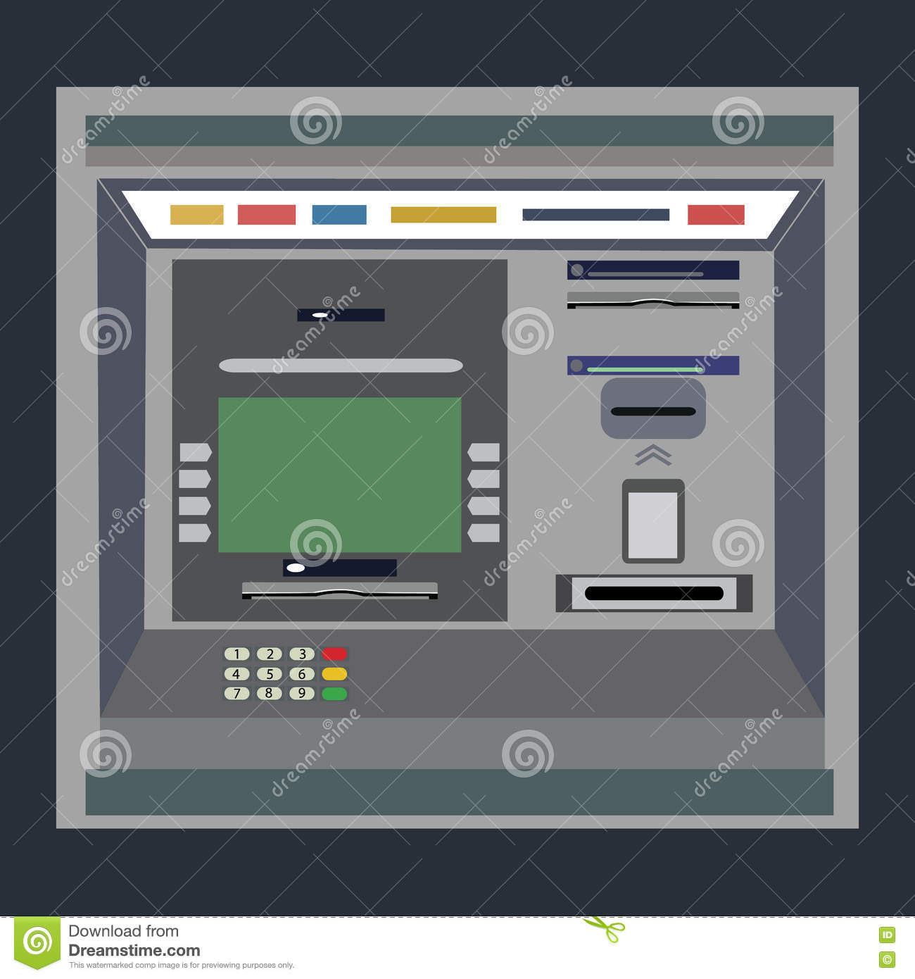 ATM payment vector illustration.Withdrawing money from card concept. Payment using credit card. ATM terminal usage.