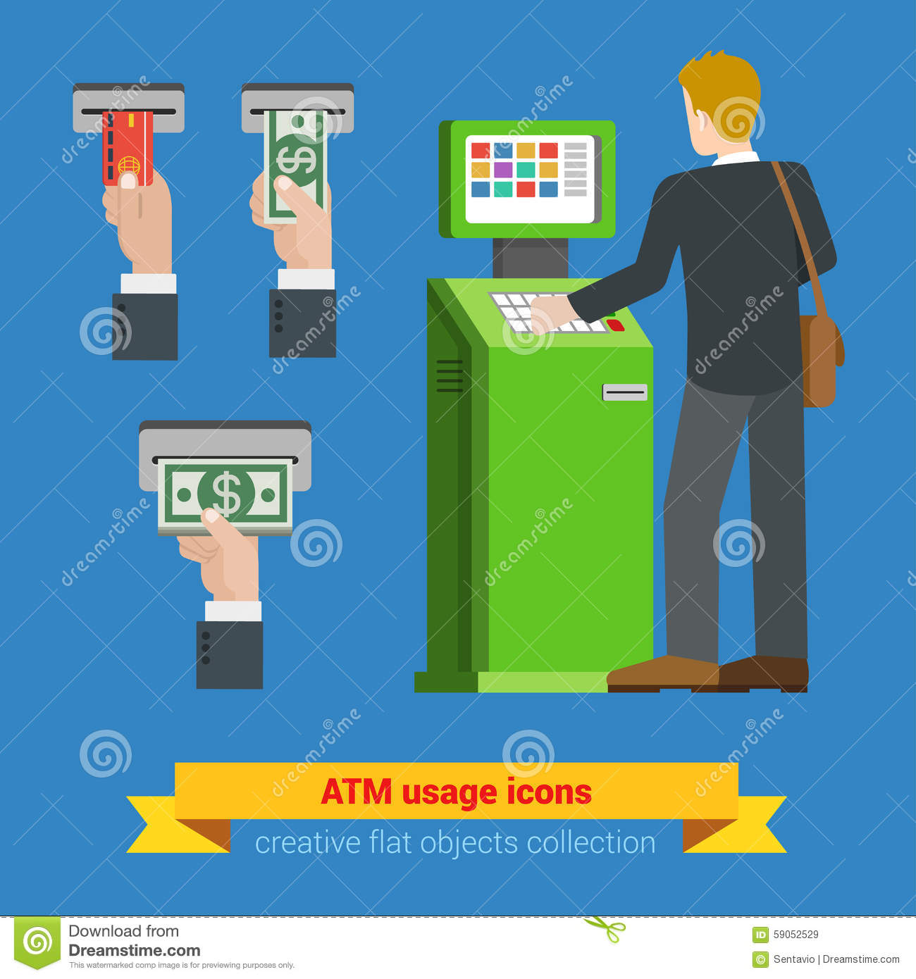 ATM terminal usage bank credit card money banknote icons. Payment options banking finance money flat 3d web isometric infographic