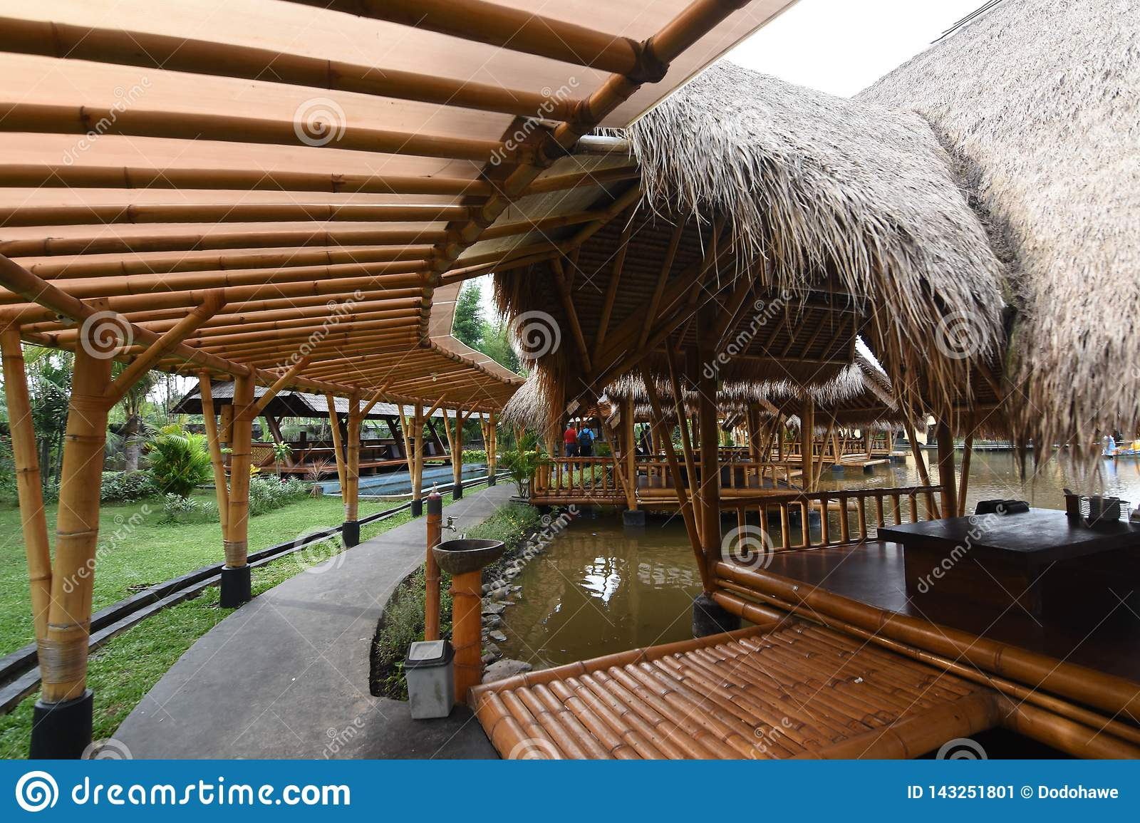 The Atmosphere Inside Of The Restaurant The Building Made By Bamboo Editorial Photo Image Of Ancient Market 143251801