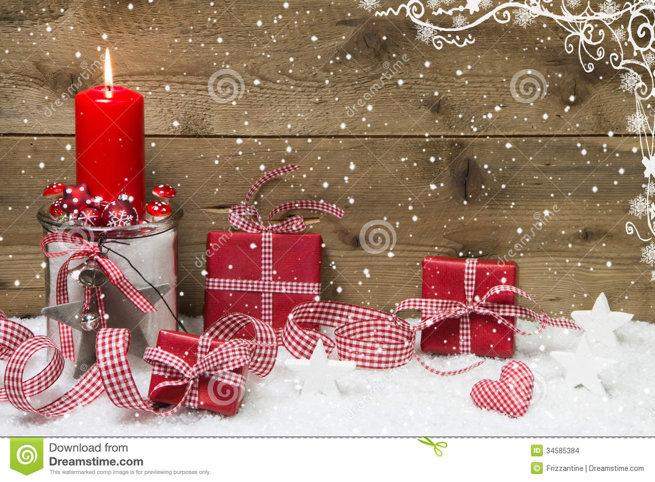 Atmospheric Christmas card with red burning candle and presents