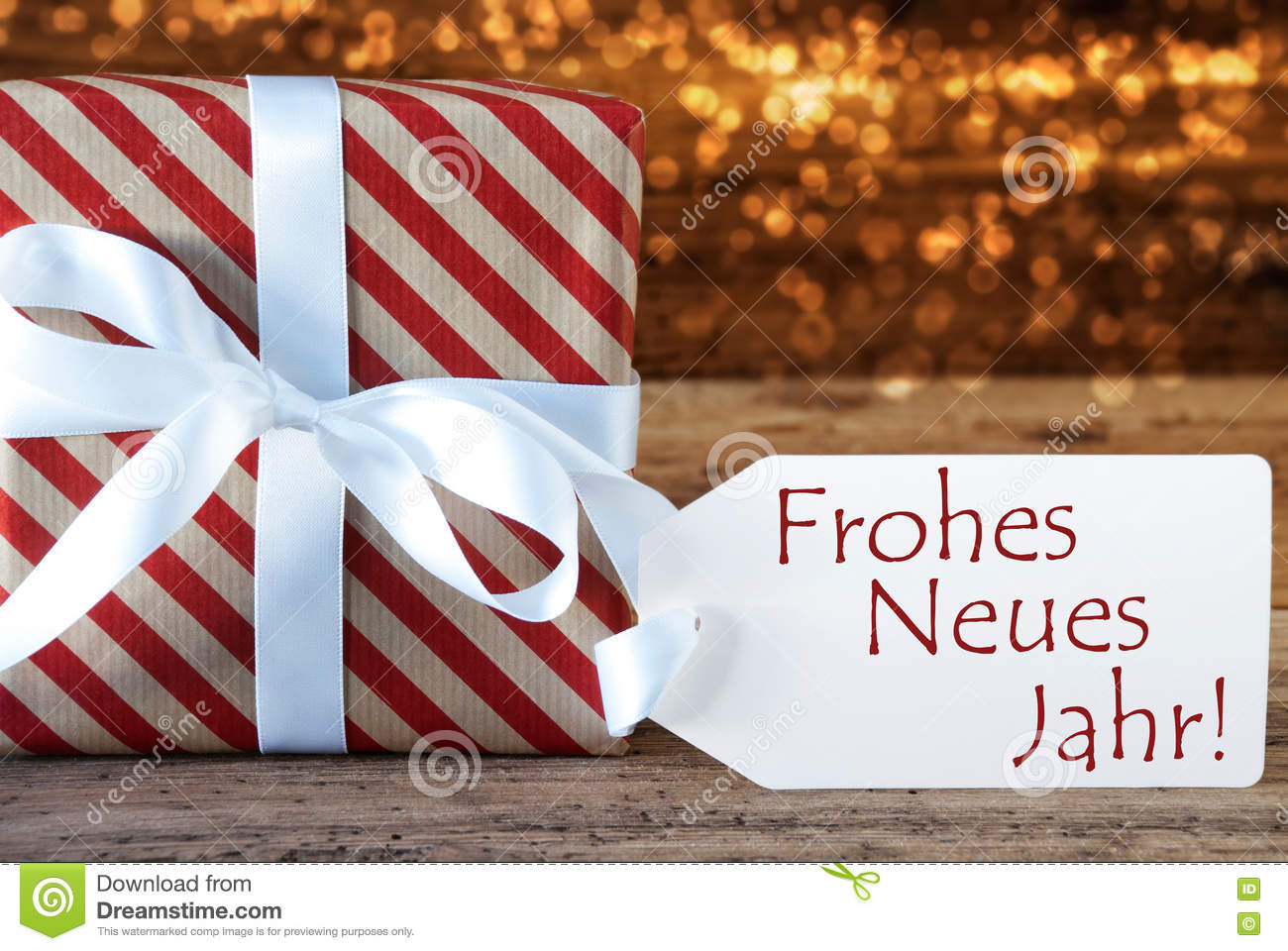 Atmospheric Christmas Gift With Label, Neues Jahr Means New Year ...