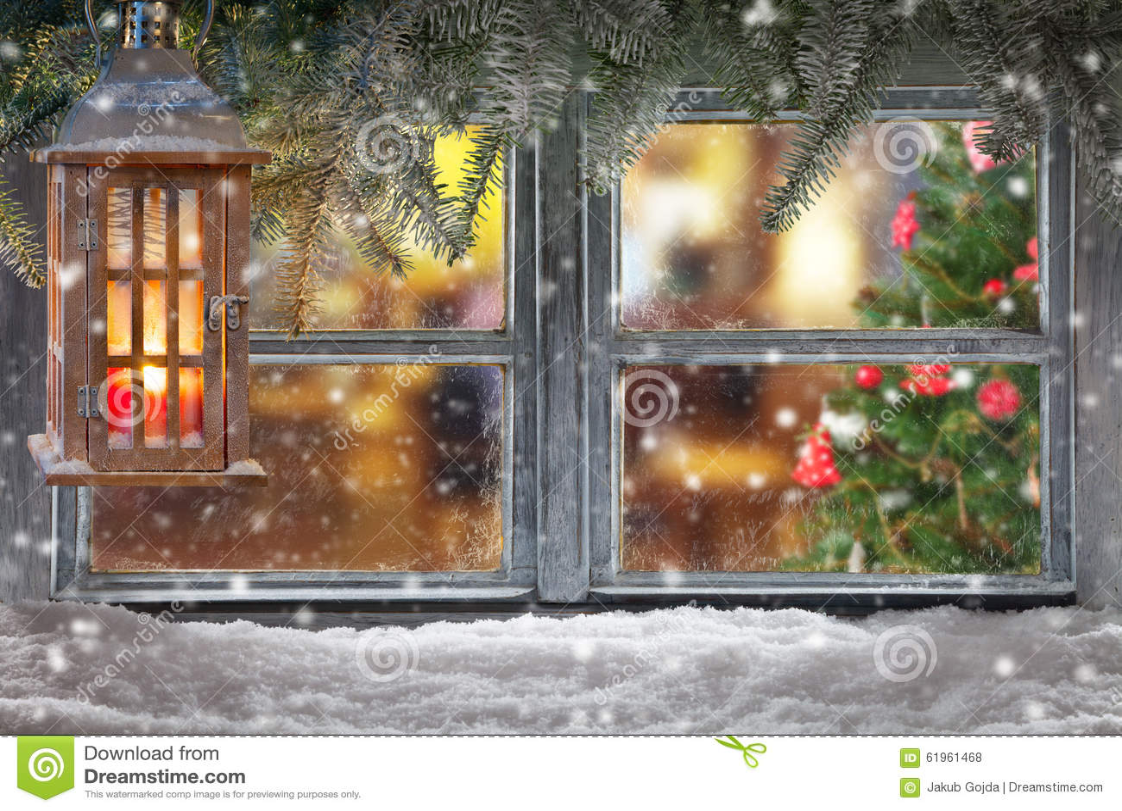 Atmospheric christmas window sill decoration stock photo
