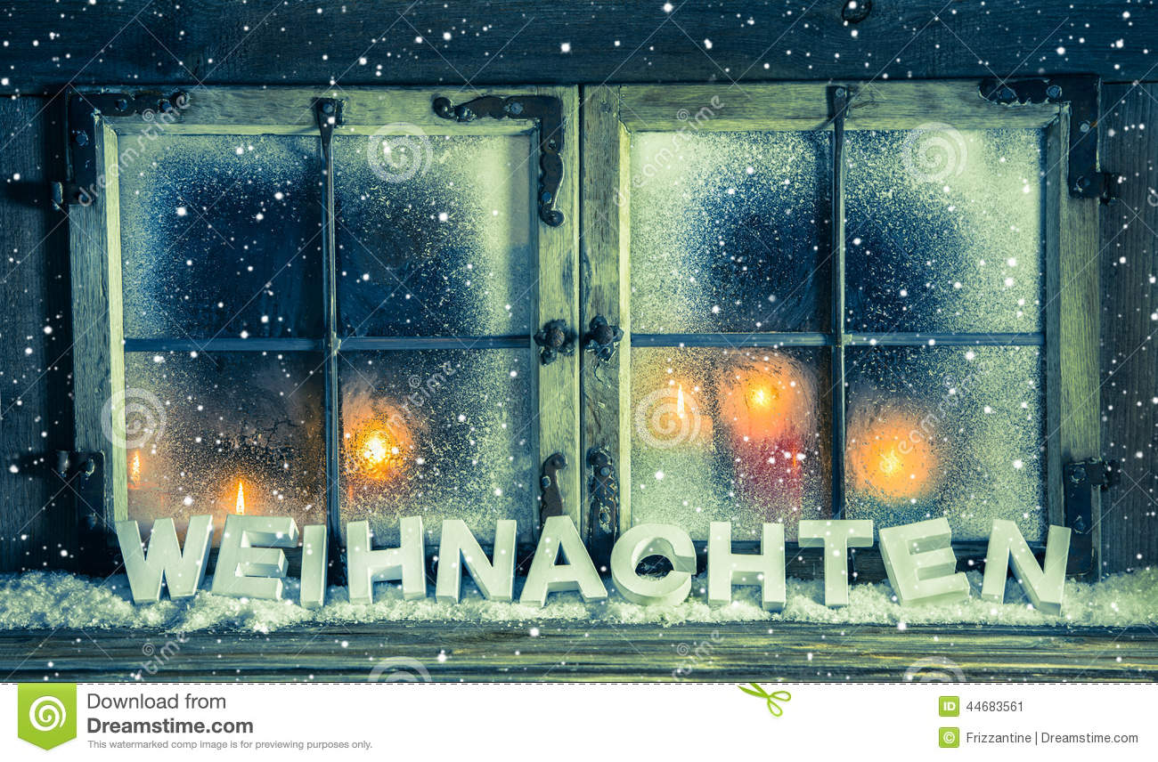 Outdoor christmas window decorations - Atmospheric Xmas Window For A Background With German Text Chris Stock Image