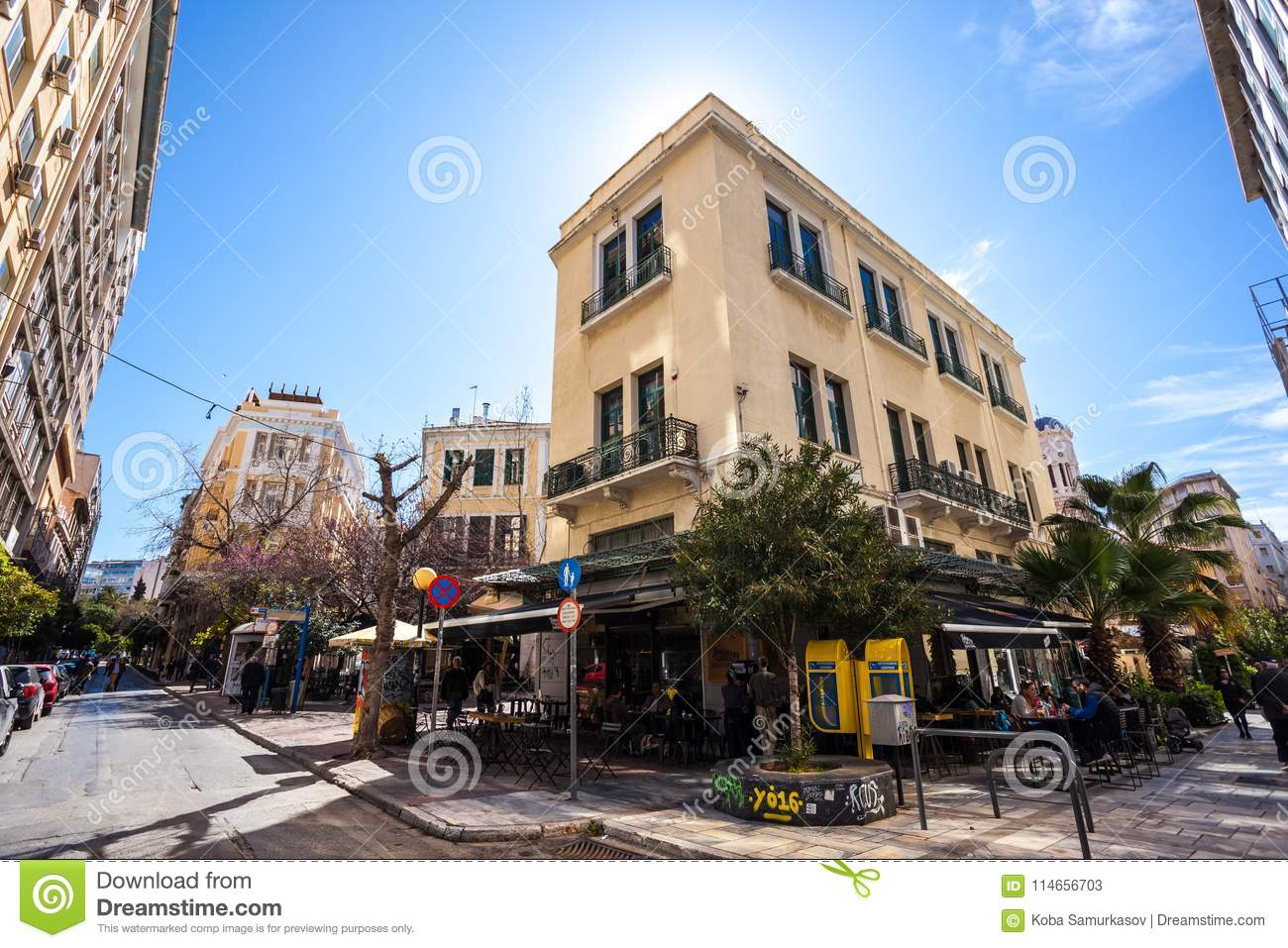 11 03 2018 atnens greece houses and streets of athens modern