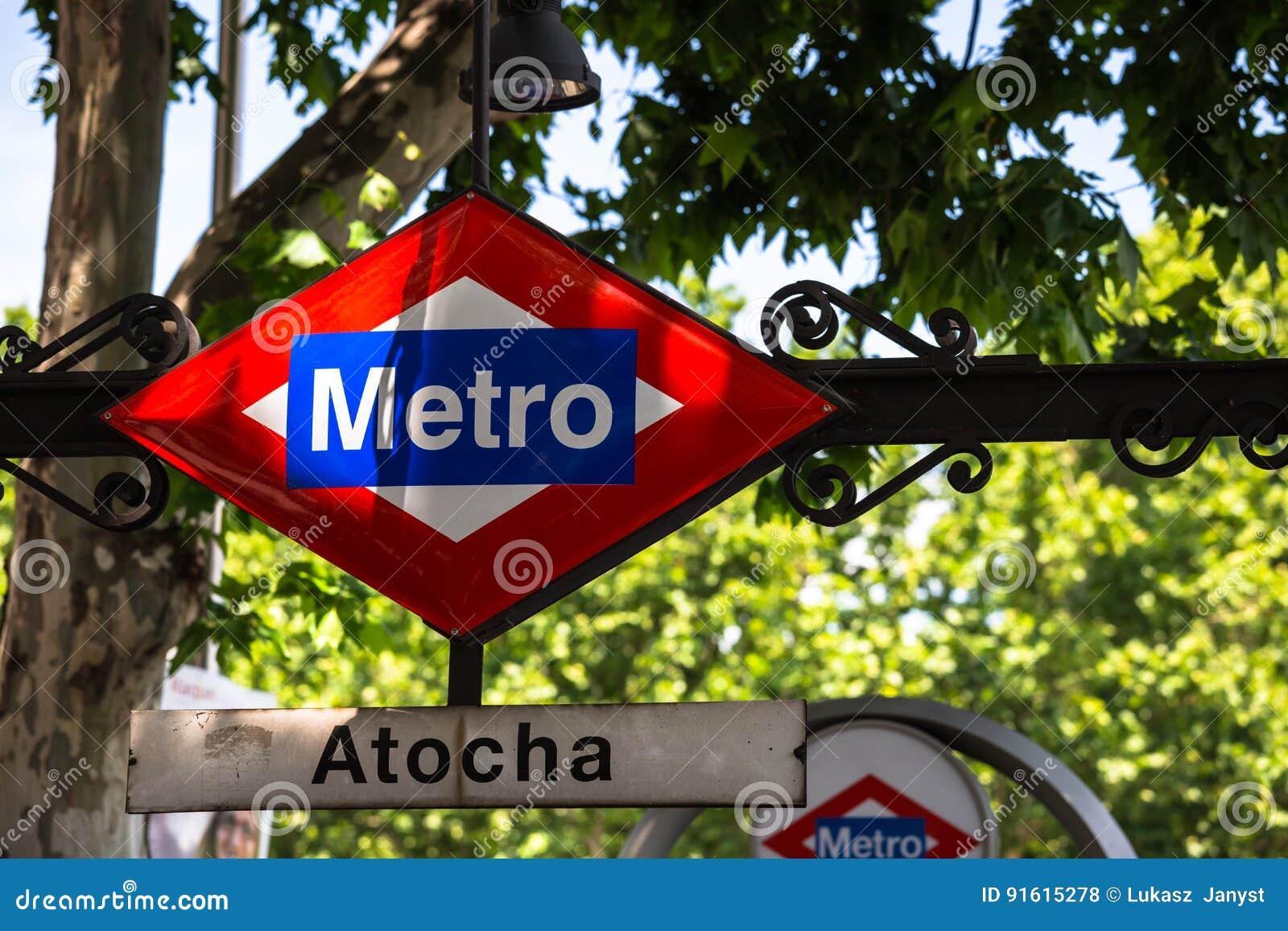 Atocha Metro Station Sign in Madrid Spain