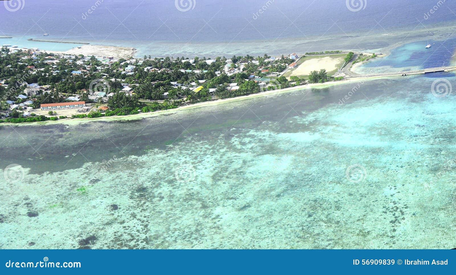 Atolón o Seenu Atoll, el sur de Addu la mayoría del atolón de las islas de Maldivas
