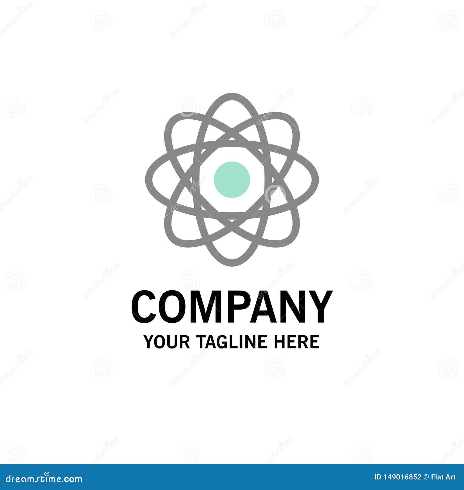 Atom, Biochemie, Chemie, Laborgeschäft Logo Template flache Farbe
