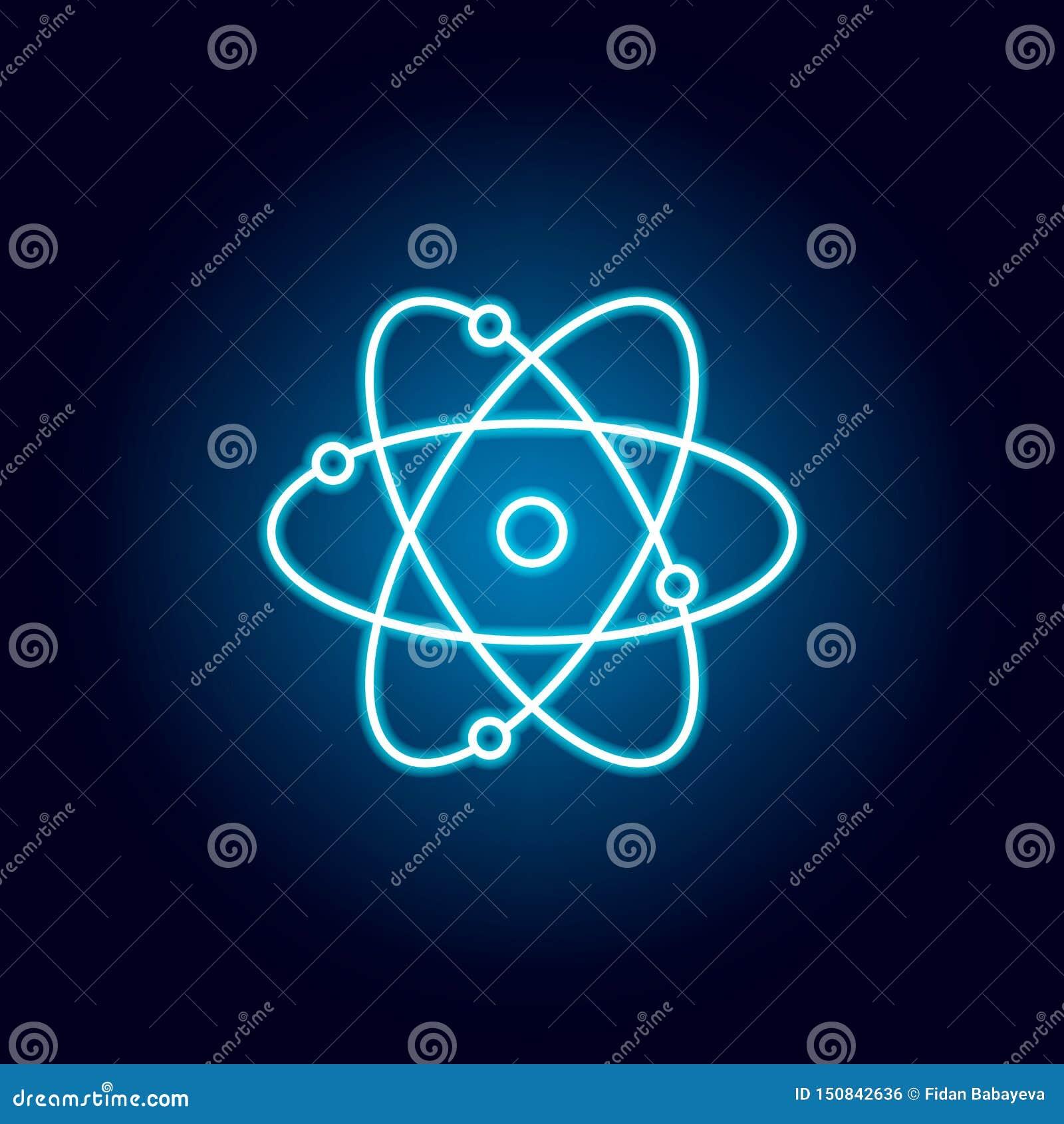 Atom, chemia konturu ikona w neonowym stylu elementy edukacji ilustracji linii ikona znaki, symbole mogą używać dla sieci, logo