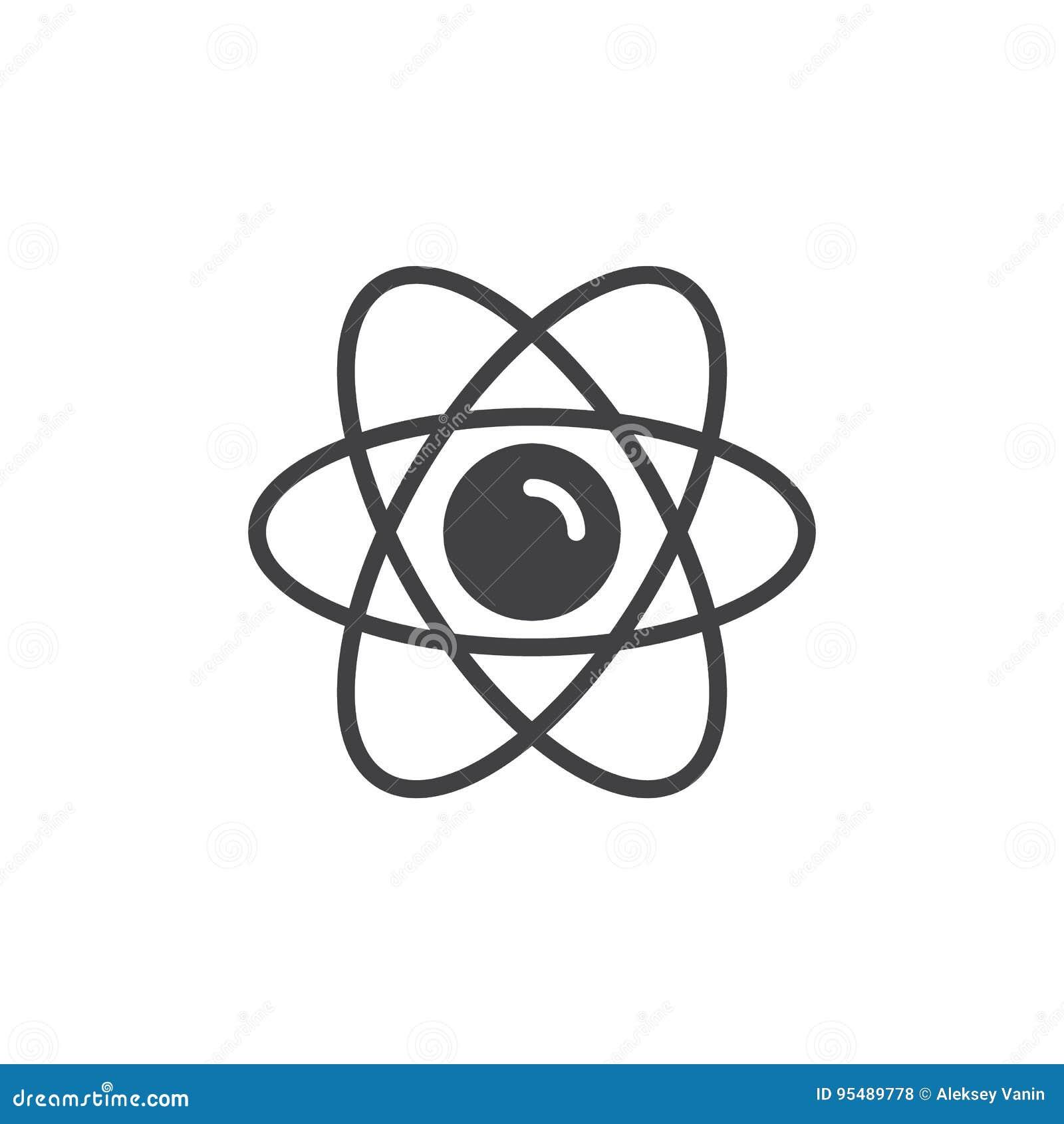 Atom ikony wektor, wypełniający mieszkanie znak, stały piktogram odizolowywający na bielu