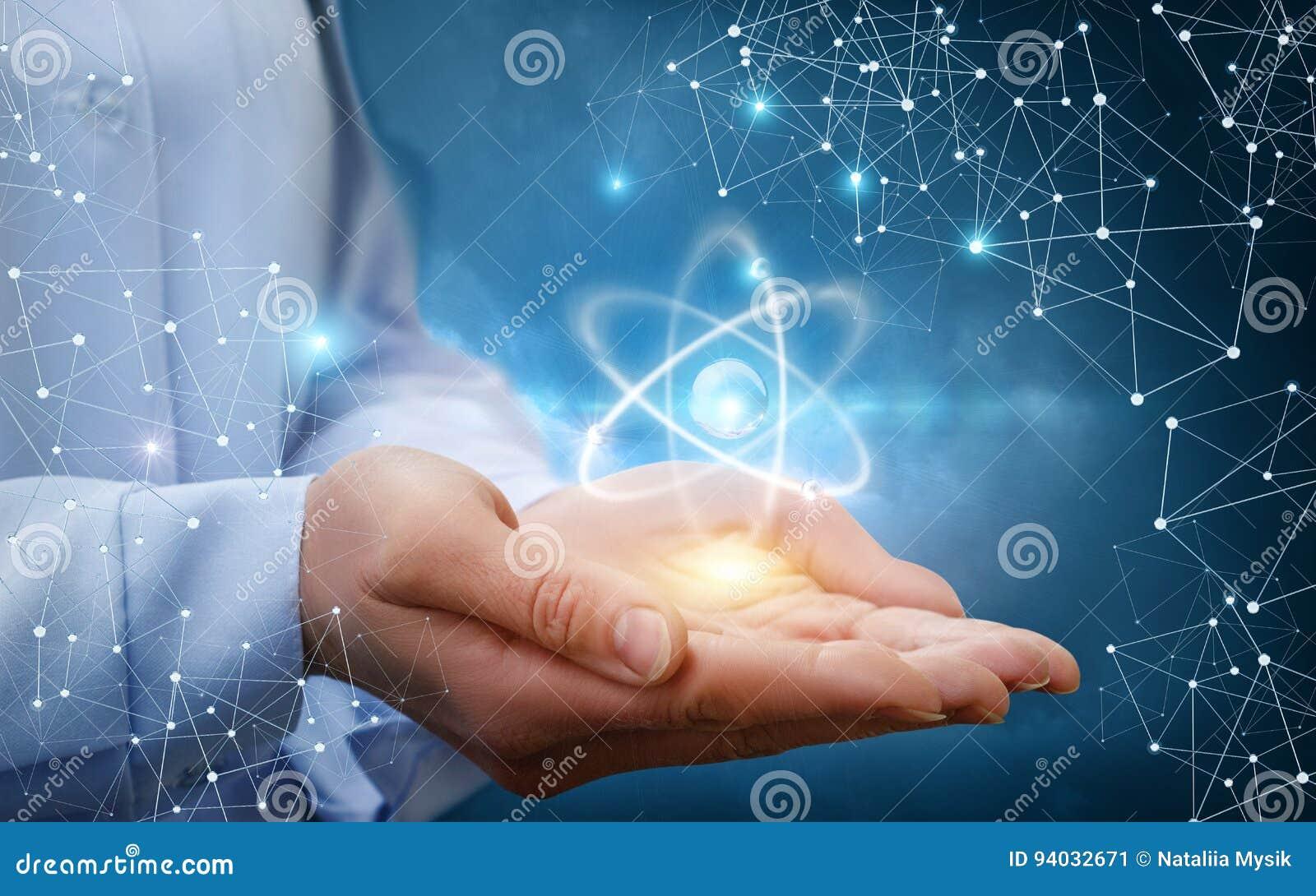 Atom molekuła w żeńskich rękach