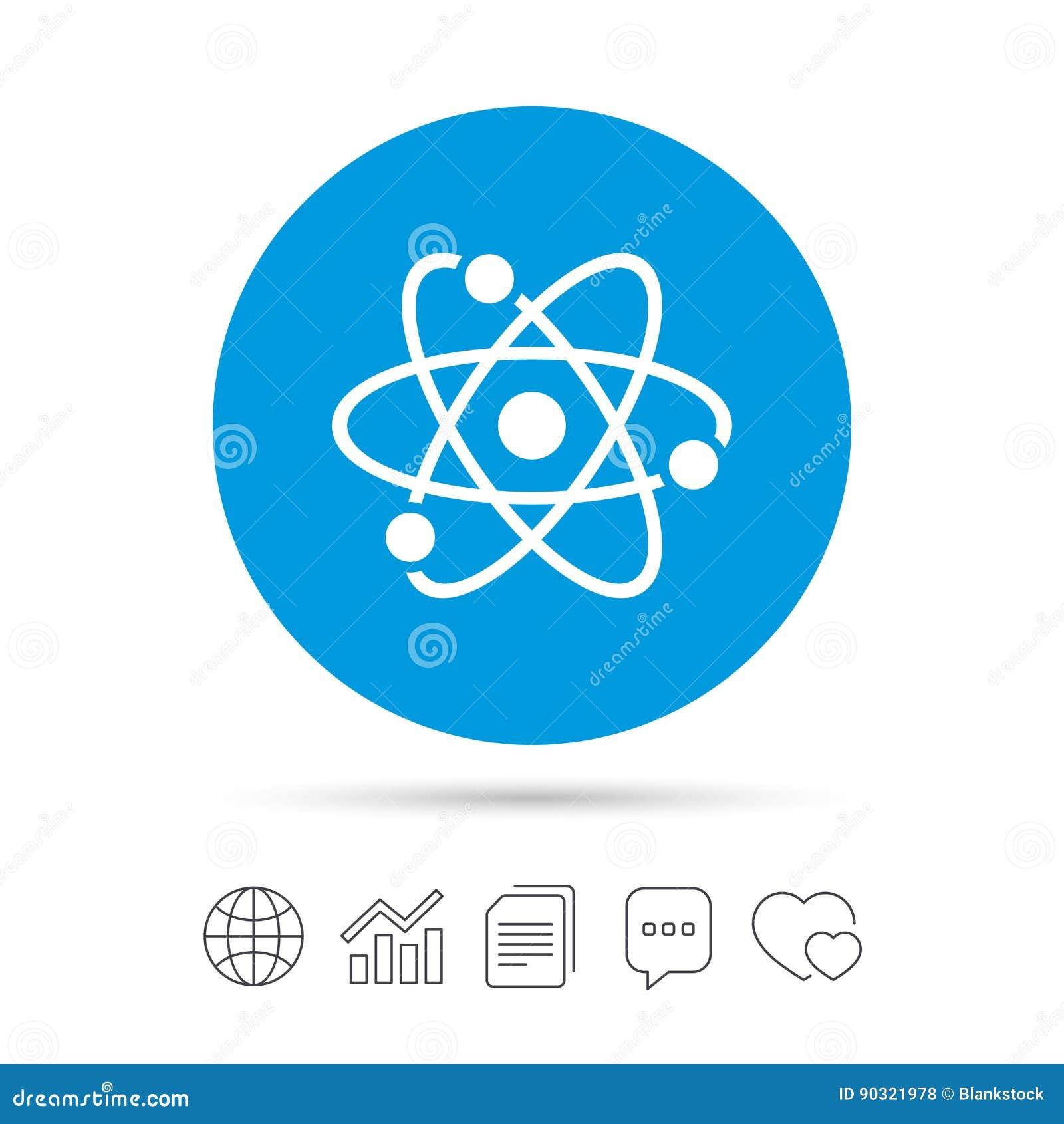 Atom Sign Icon Atom Part Symbol Stock Vector Illustration Of