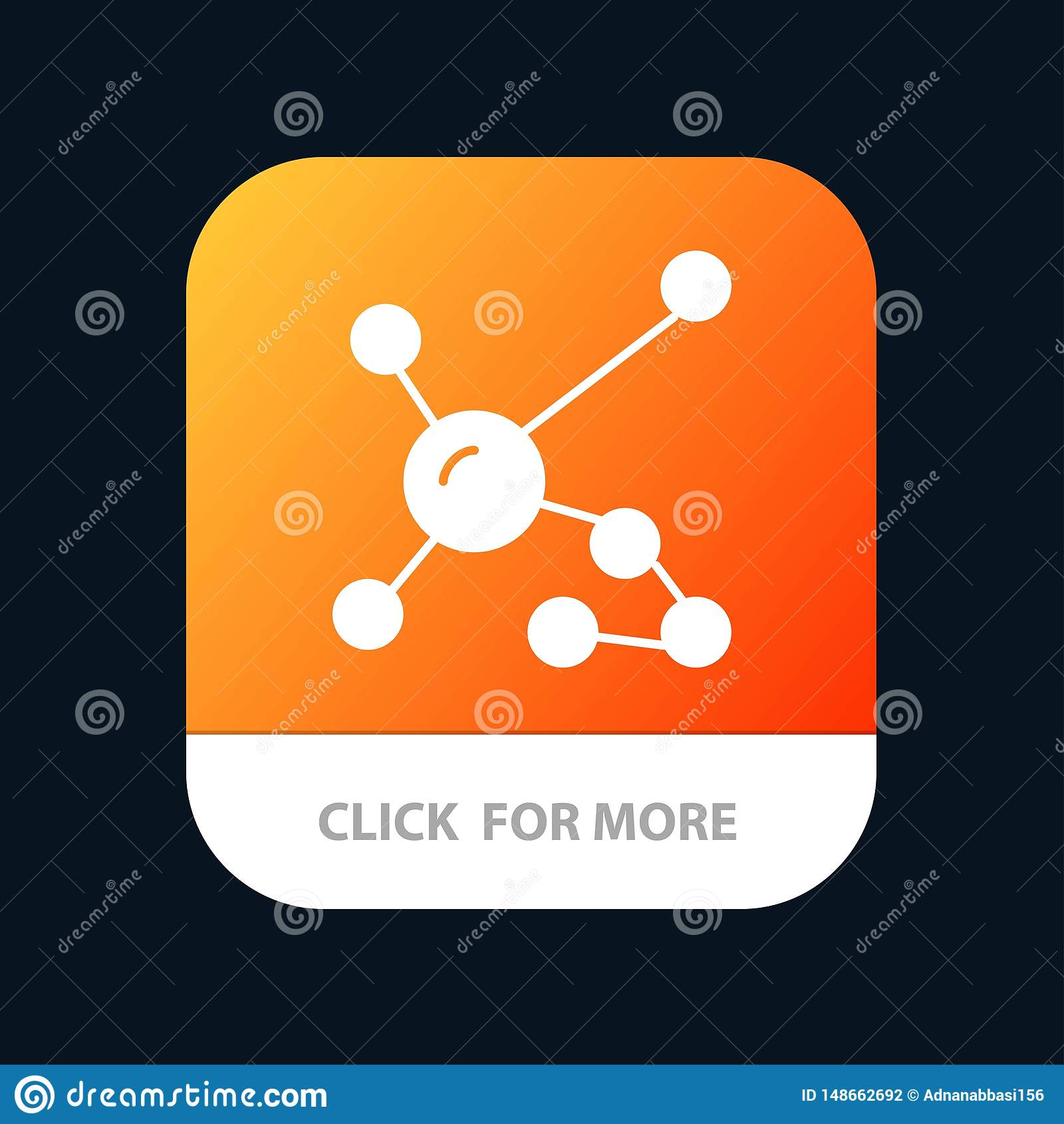 Atome, biochimie, biologie, ADN, bouton mobile génétique d appli Android et version de Glyph d IOS