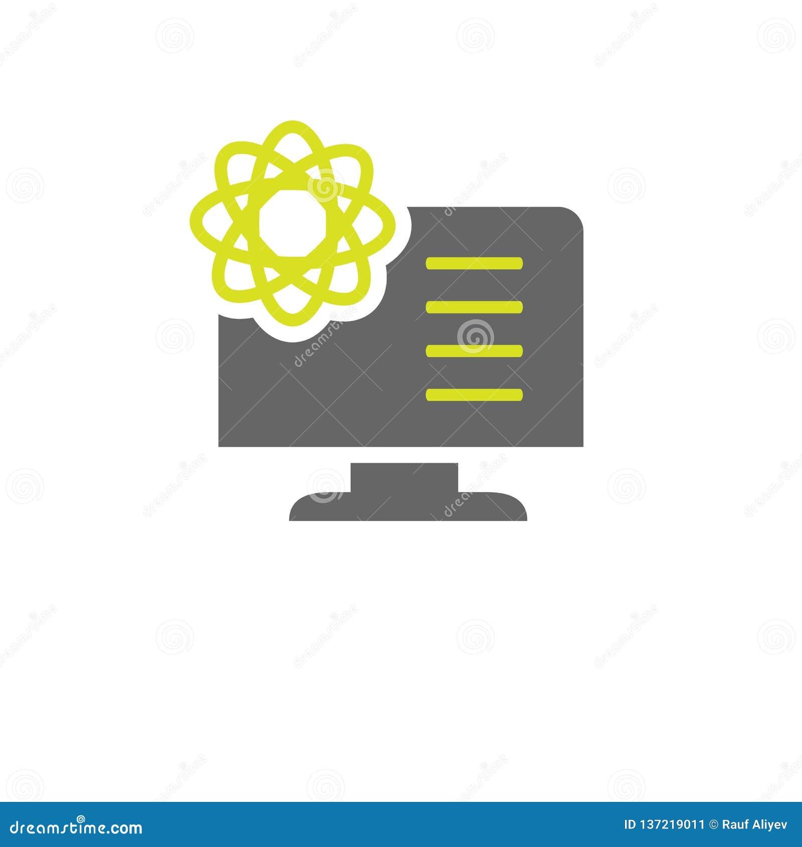 Atome, icône de l information Élément d icône d expérience de la Science pour des applis mobiles de concept et de Web L atome dét