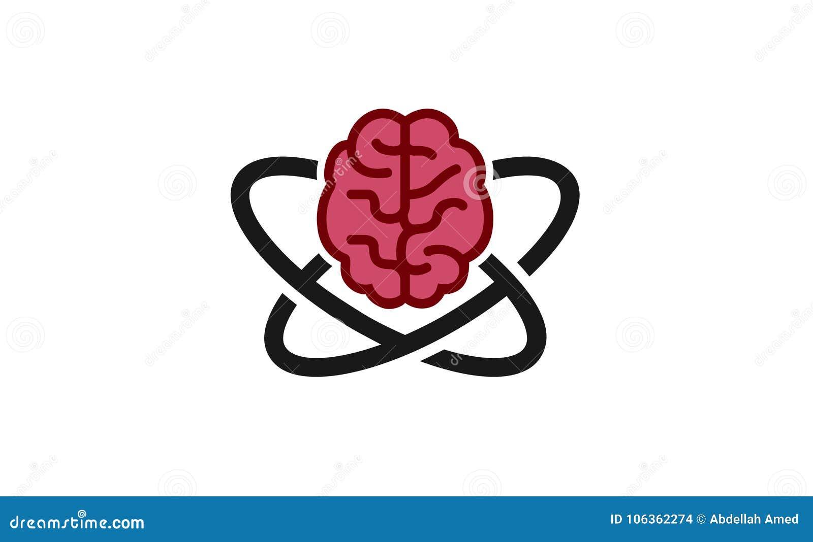 Atomic Brain Logo Design Illustration Stock Vector Illustration Of