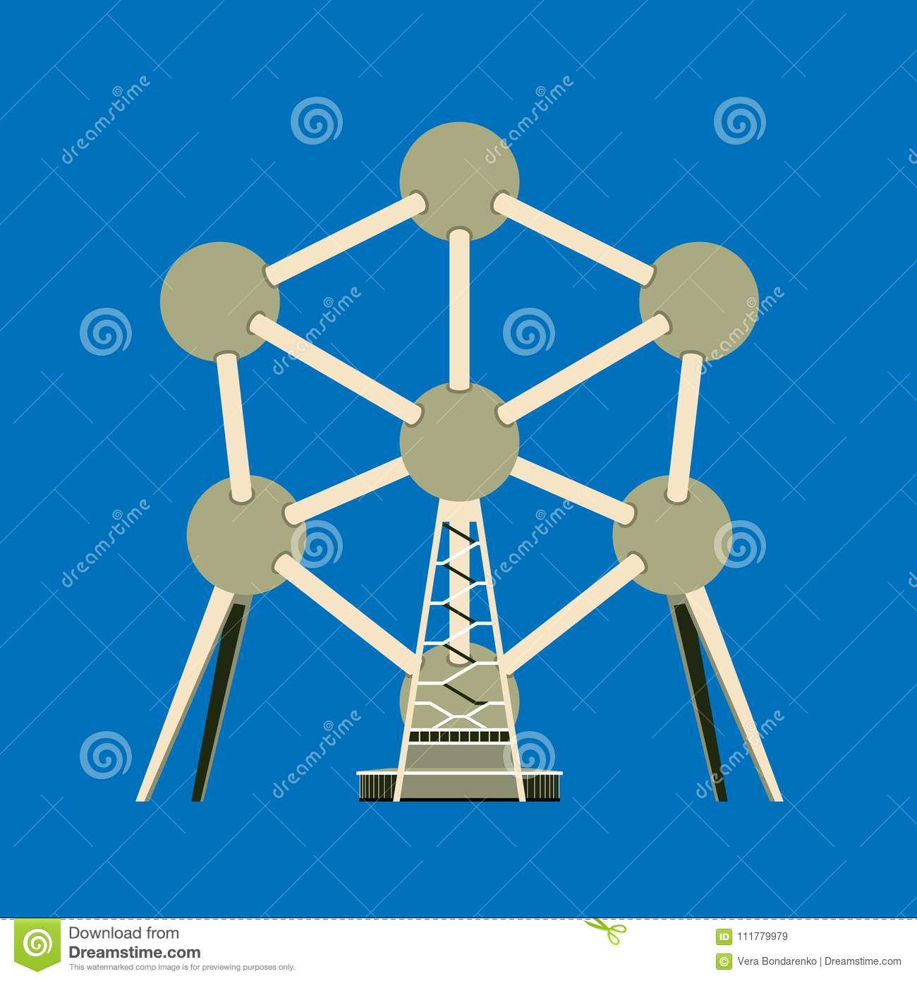 Atomium is a symbol of Brussels. Flat style vector illustration.