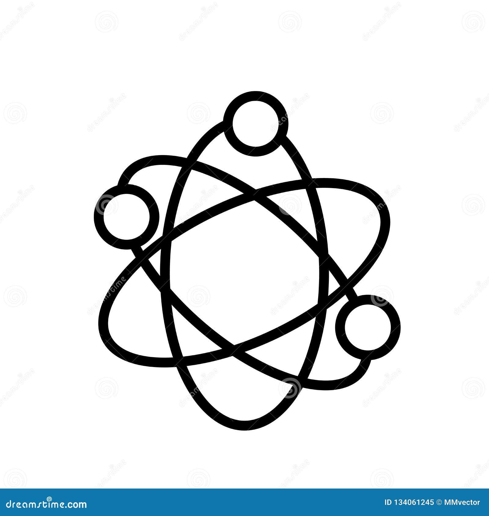 Atomowej struktury ikony wektor odizolowywający na białym tle, Atomowej struktury znak, liniowy symbol i uderzenie, projektujemy