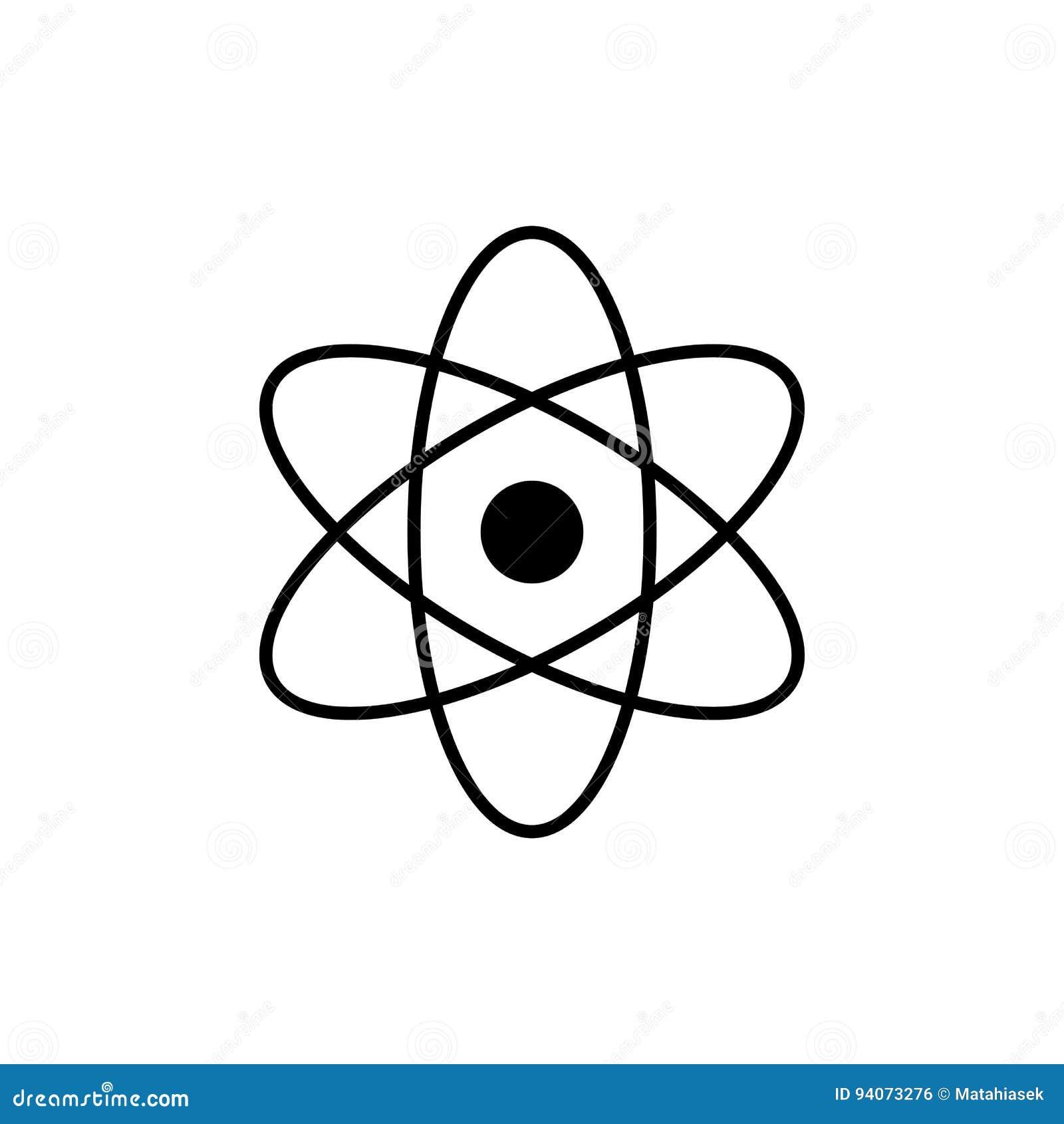 Atomu logo Nauka znak Jądrowa ikona Elektrony i protony Odizolowywający na bielu