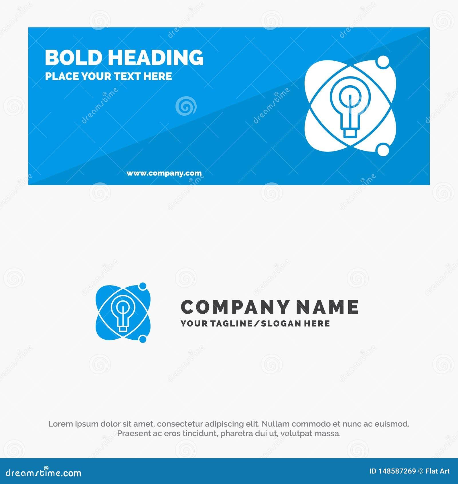 Atoom, Onderwijs, Kern, de Websitebanner en Zaken Logo Template van het Bol Stevige Pictogram