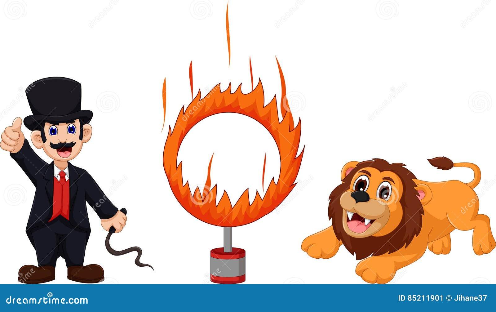 Atrações de desenhos animados do leão que saltam em um anel de fogo