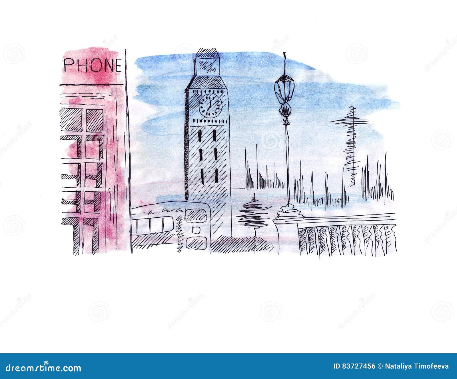 Atracción del bosquejo del ejemplo de la capital de Inglaterra Londres: Autobús de dos plantas, torre de reloj de la torre de la