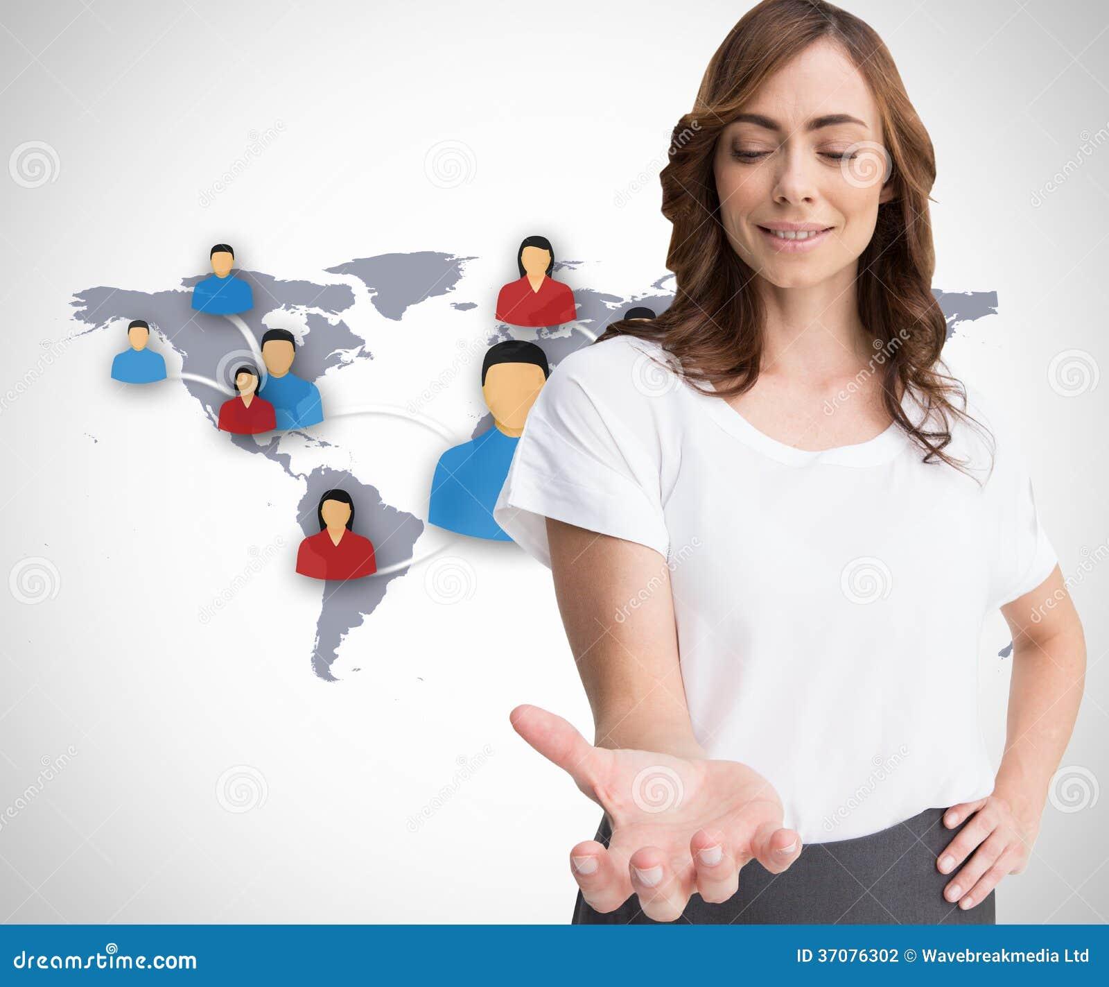 Download Atrakcyjna Brunetka Przedstawia Jej Rękę Zdjęcie Stock - Obraz złożonej z profesjonalizm, international: 37076302