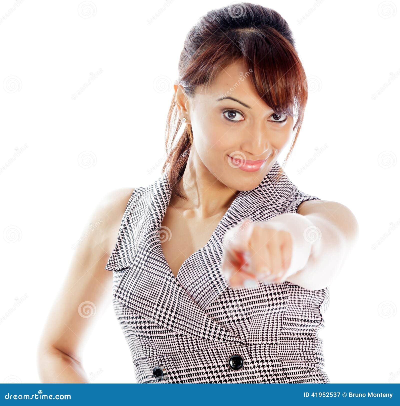 Atrakcyjna Indiańska kobieta odizolowywająca na białym tle