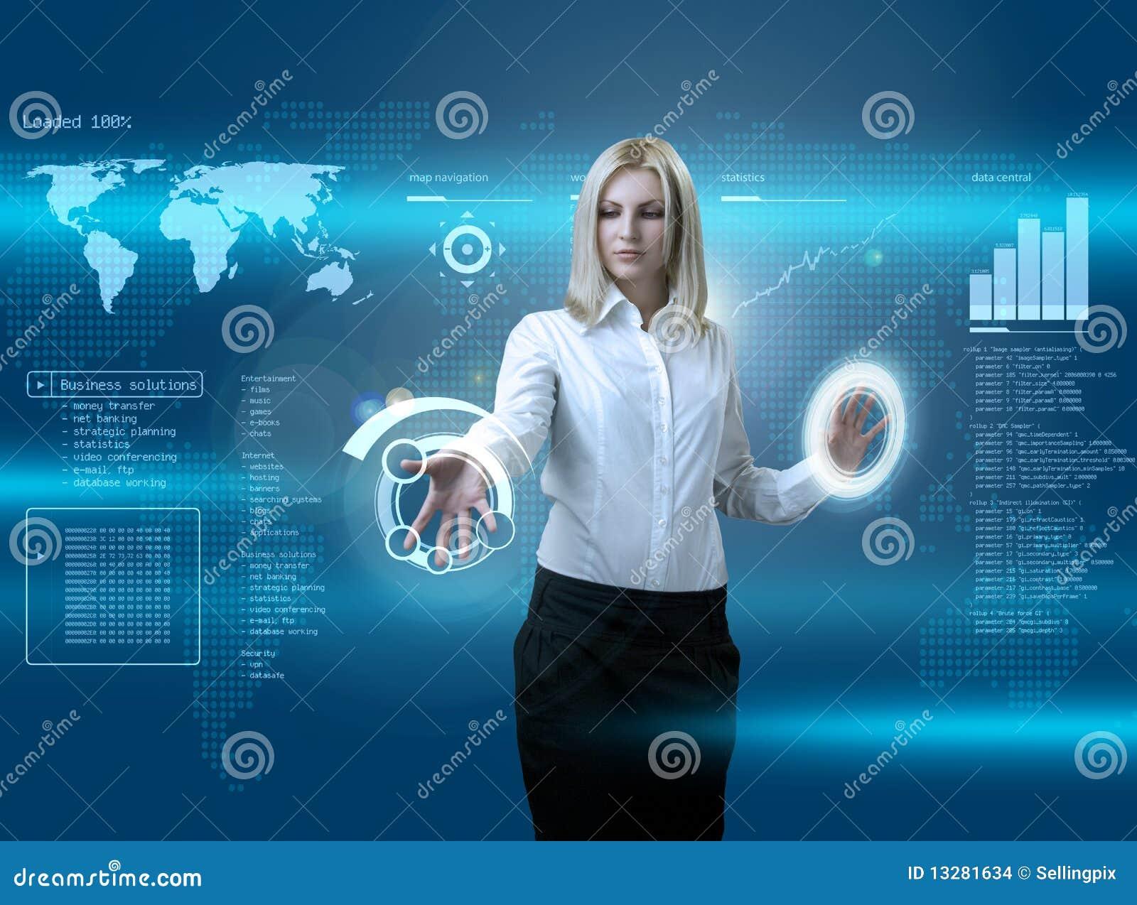 Atrakcyjnej blondynki futurystyczny interfejsu target1380_0_