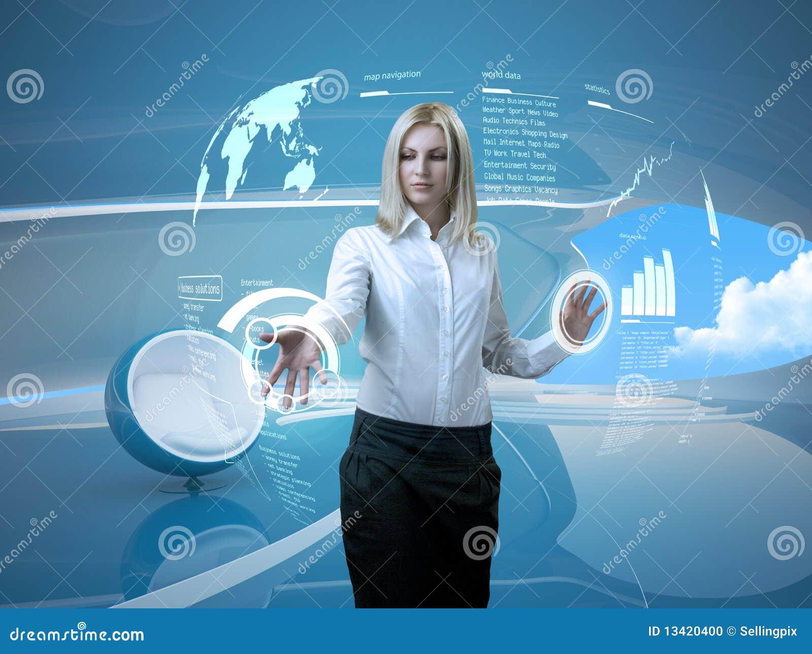 Atrakcyjnej blondynki futurystyczny interfejsu wnętrze